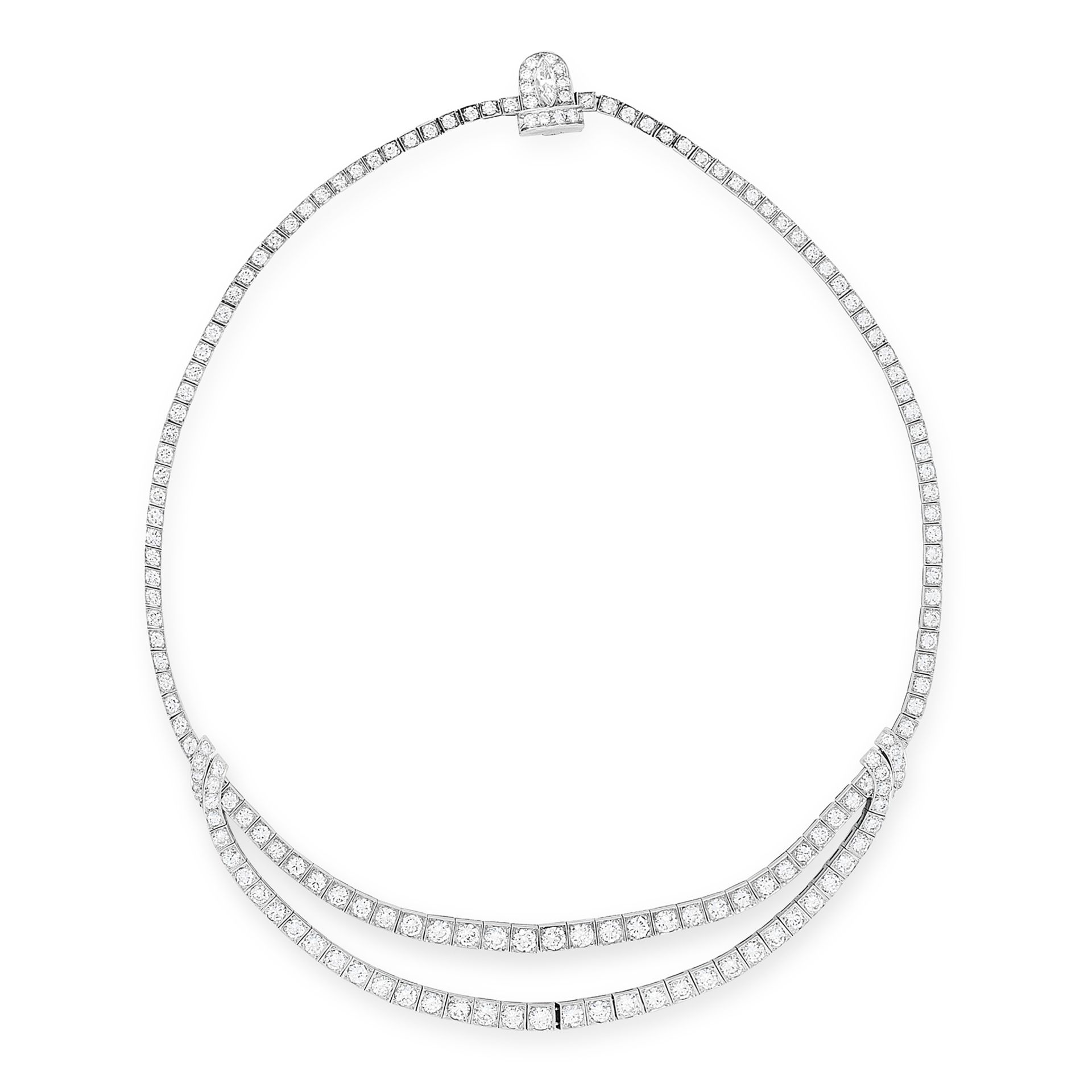 Los 40 - A VINTAGE DIAMOND NECKLACE, VAN CLEEF & ARPELS in platinum, comprising a row of graduated round