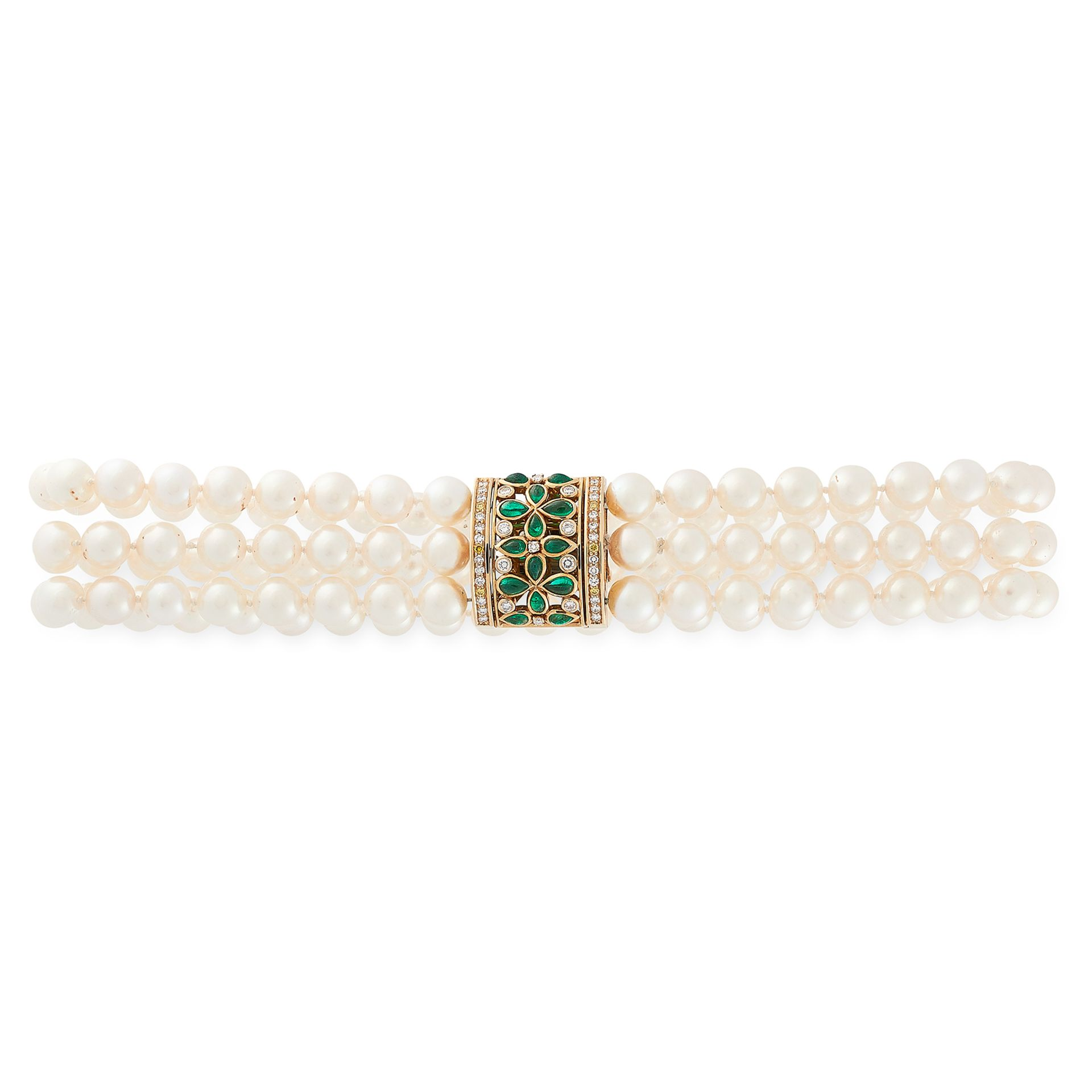 Los 53 - A PEARL, EMERALD AND DIAMOND CHOKER NECKLACE, CARTIER 1998 in 18ct yellow gold, comprising three