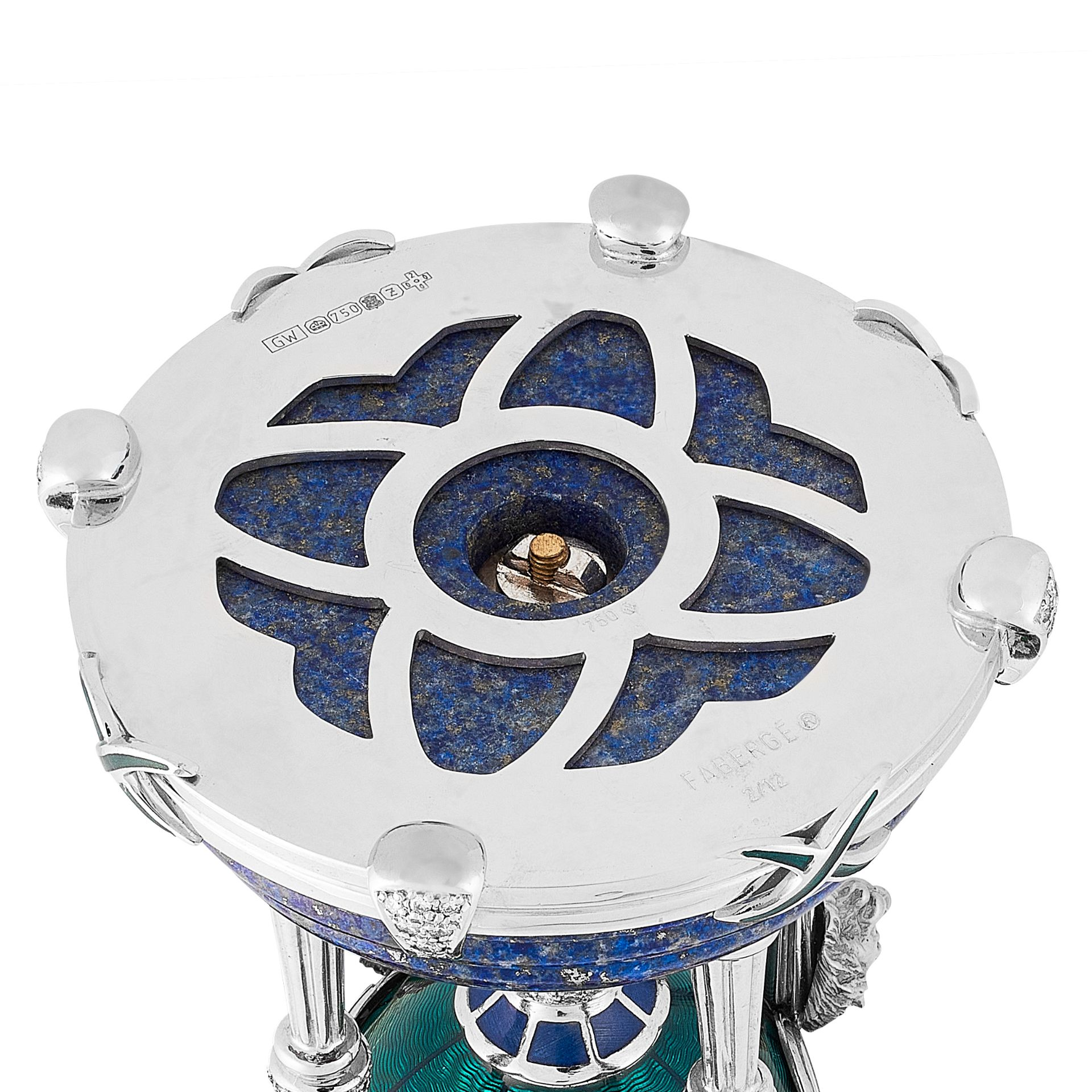 Los 54 - A HARDSTONE, DIAMOND, SAPPHIRE AND ENAMEL EGG, VICTOR MAYER FOR FABERGE 2000 in 18ct white gold, the