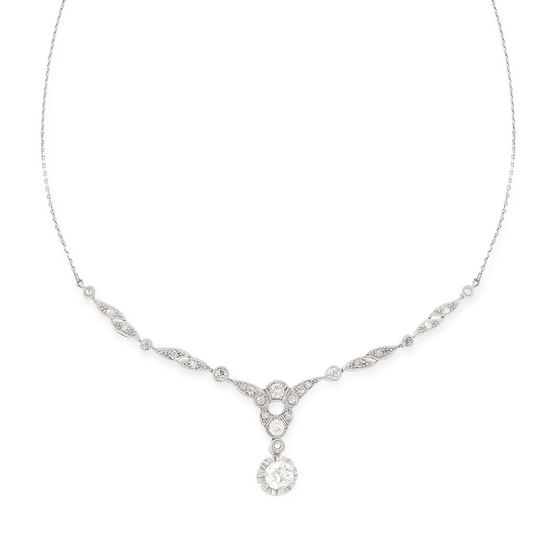 Lot 57 - A DIAMOND NECKLACE, EARLY 20TH CENTURY set with a principal old cut diamond of 0.84 carats suspended