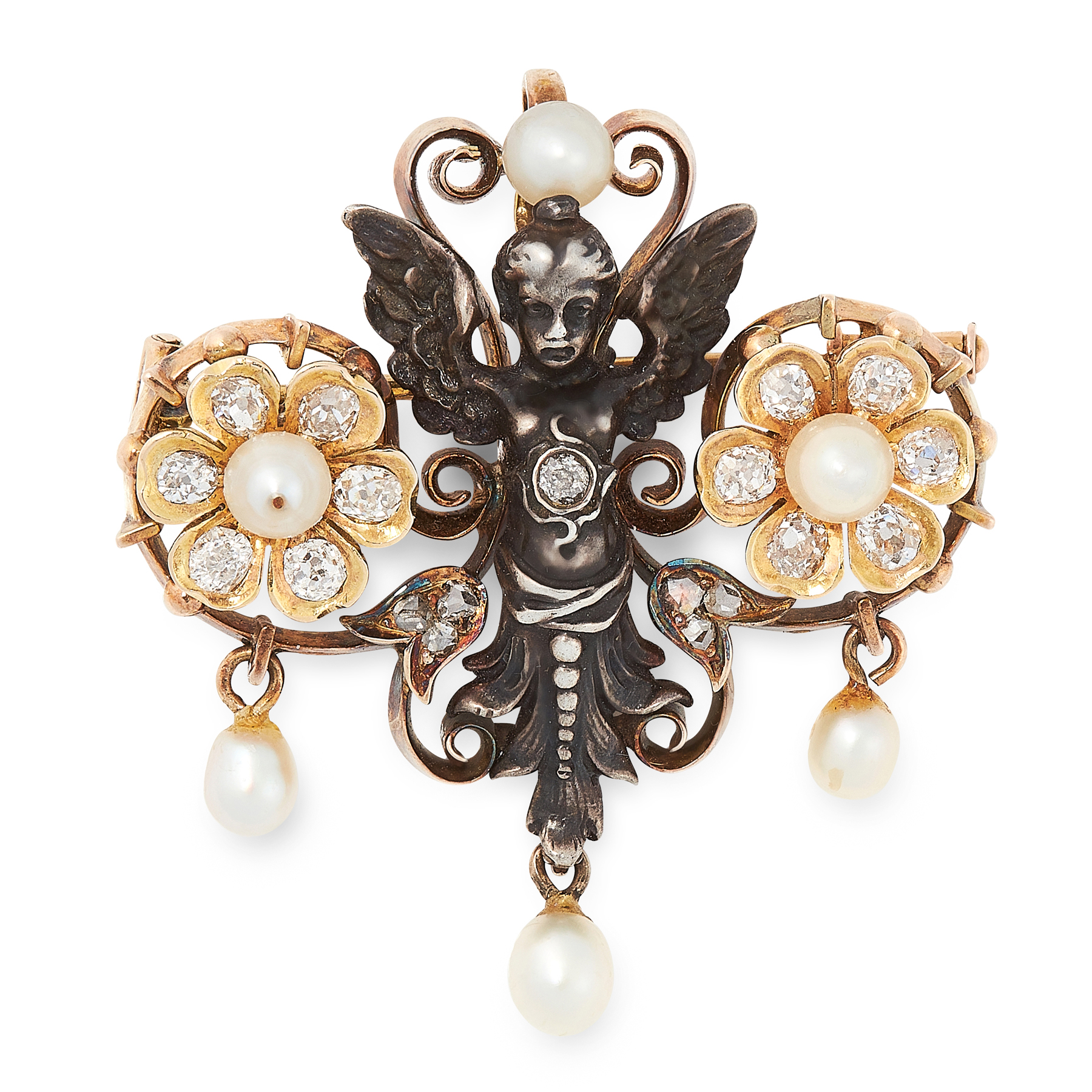 Lot 10 - AN ART NOUVEAU DIAMOND AND PEARL BROOCH in yellow gold and silver, the silver putti set with old and