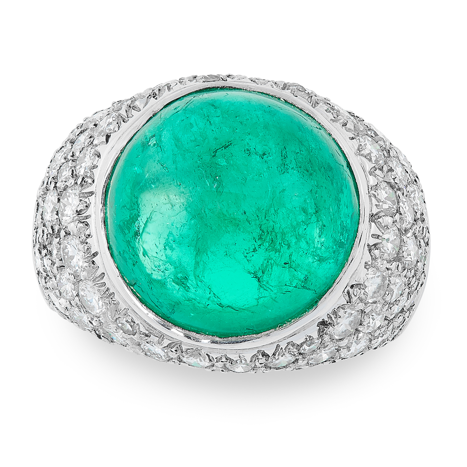 Lot 17 - A COLOMBIAN EMERALD AND DIAMOND RING CIRCA 1980 in platinum, set with a circular cabochon emerald of