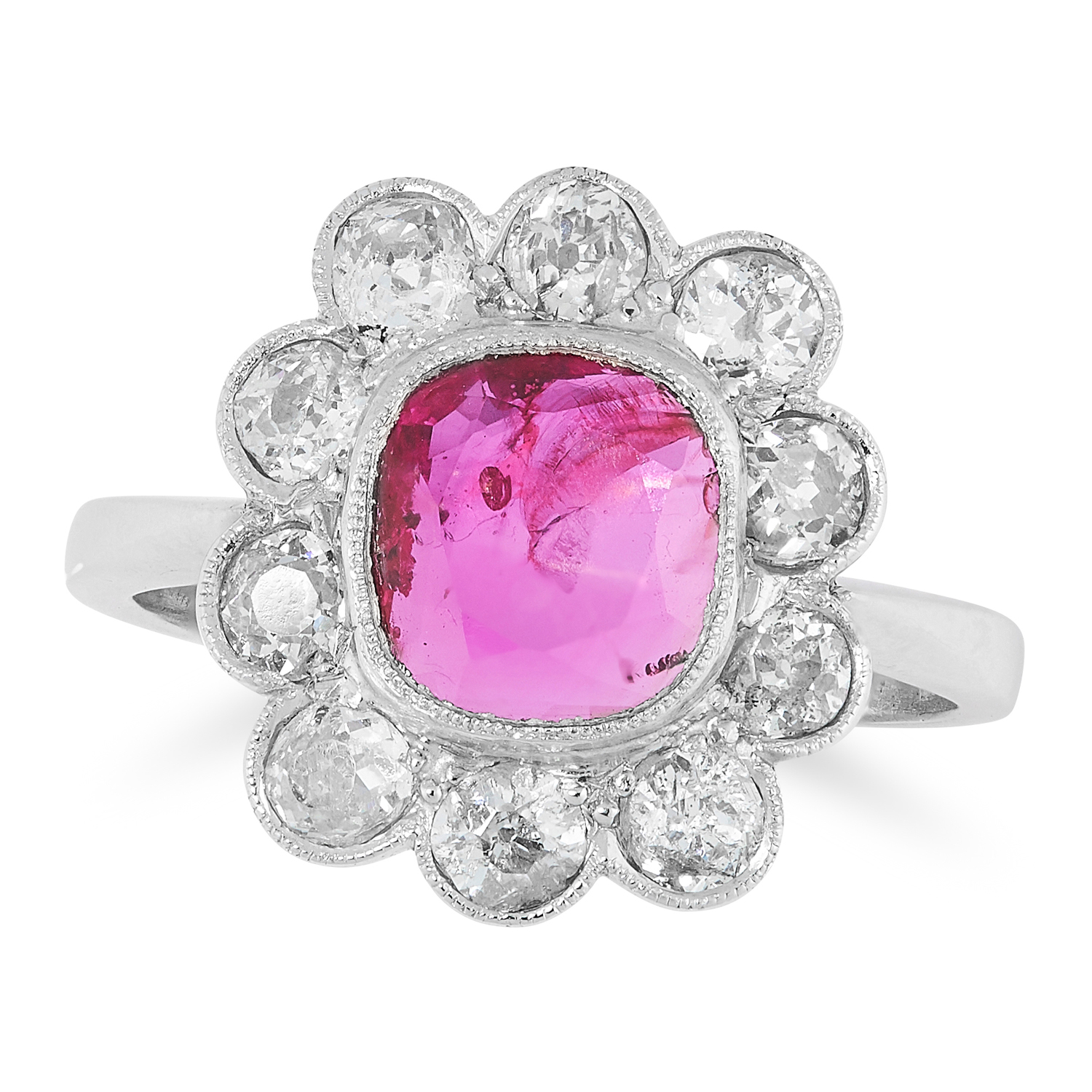 Lot 8 - A BURMA NO HEAT RUBY AND DIAMOND RING CIRCA 1950 in platinum, set with a modified cushion cut ruby