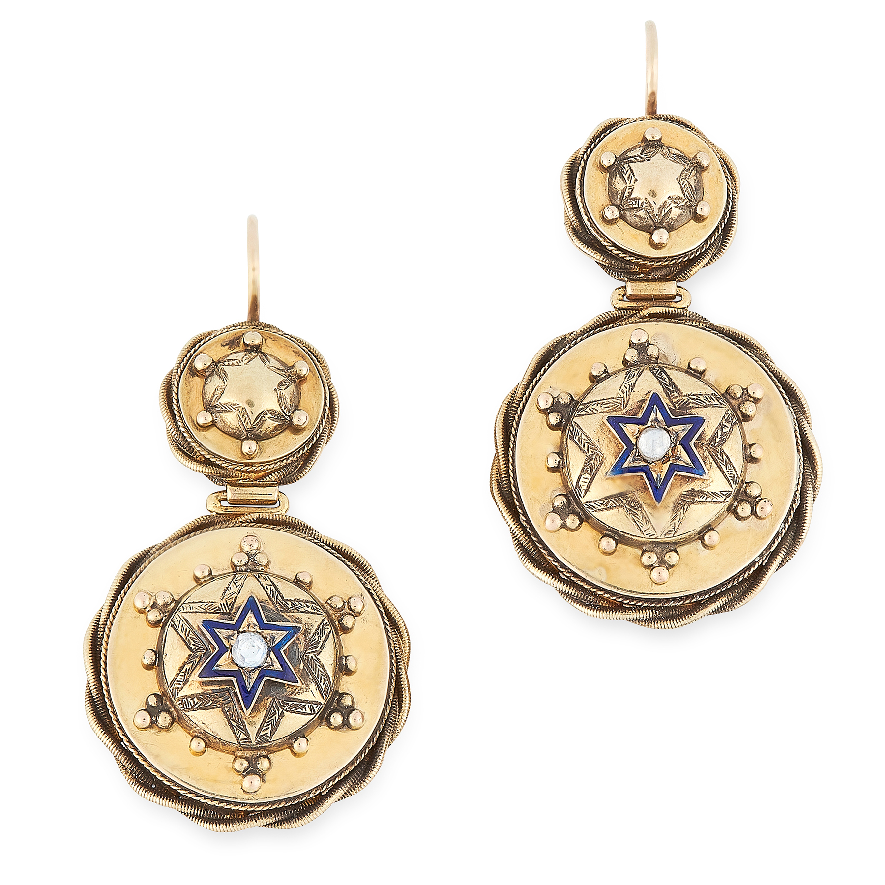 Lot 50 - AN ANTIQUE DIAMOND AND ENAMEL MOURNING BROOCH AND EARRINGS SUITE, 19TH CENTURY in yellow gold, the