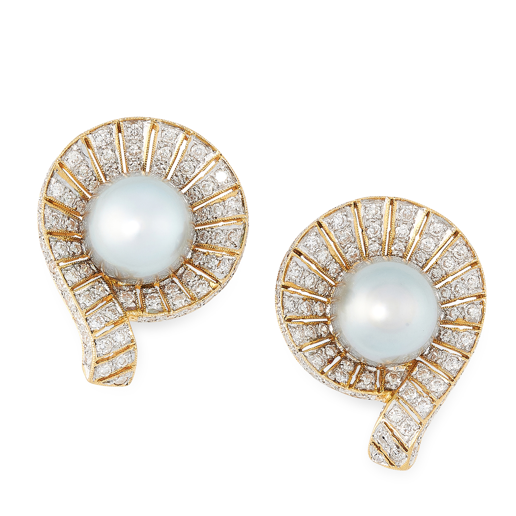 Lot 9 - A PAIR OF PEARL AND DIAMOND STUD EARRINGS in 18ct yellow gold, each set with a central grey pearl of
