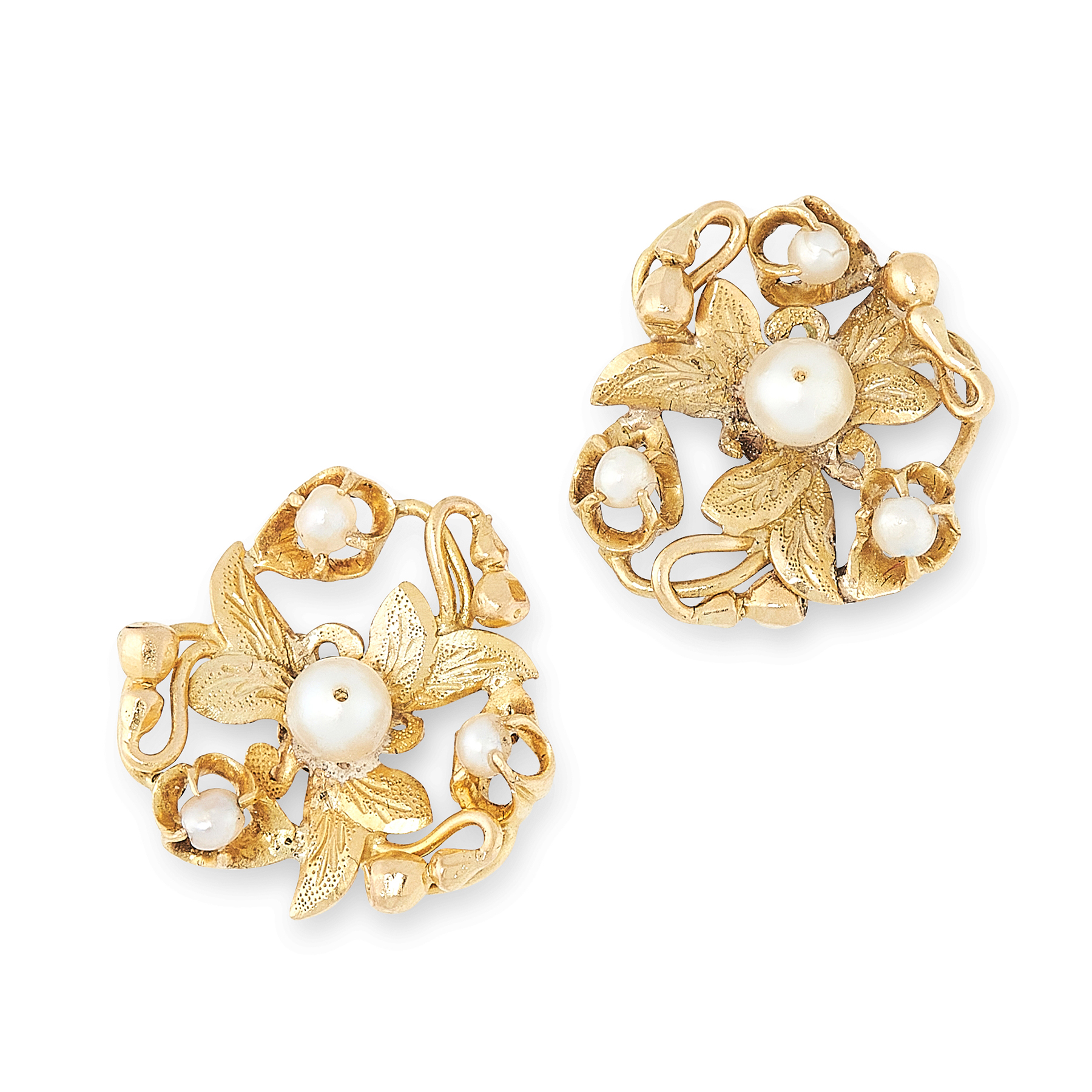 Lot 20 - A PAIR OF PEARL STUD EARRINGS, EARLY 20TH CENTURY in high carat yellow gold, each of foliate
