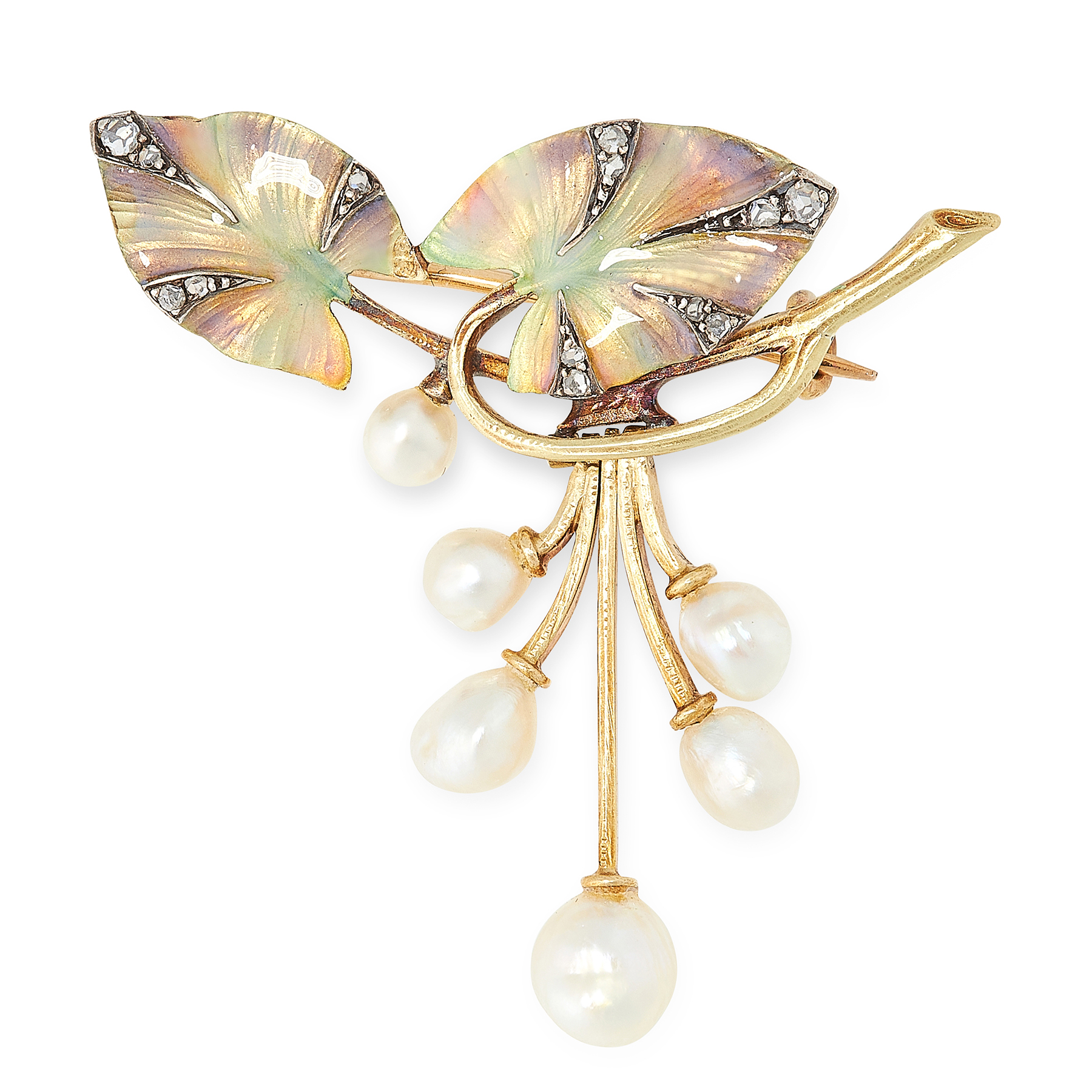 Lot 23 - AN ART NOUVEAU PEARL, ENAMEL AND DIAMOND BROOCH, EARLY 20TH CENTURY in 18ct yellow gold, designed as