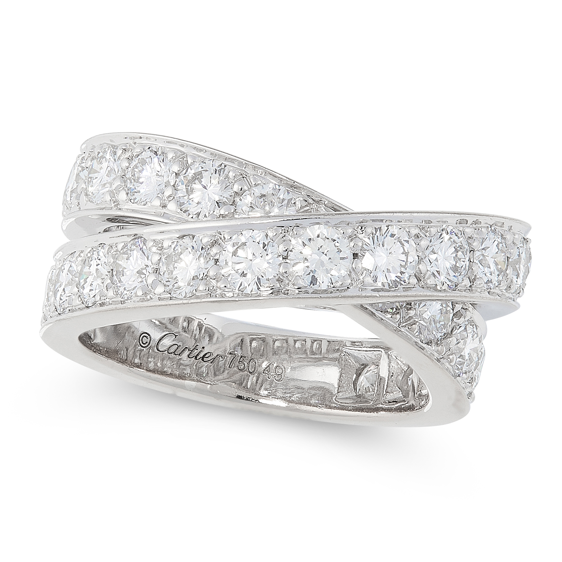 Lot 30 - A NOUVELLE VAGUE DIAMOND CROSSOVER RING, CARTIER in 18ct white gold, designed as two overlapping