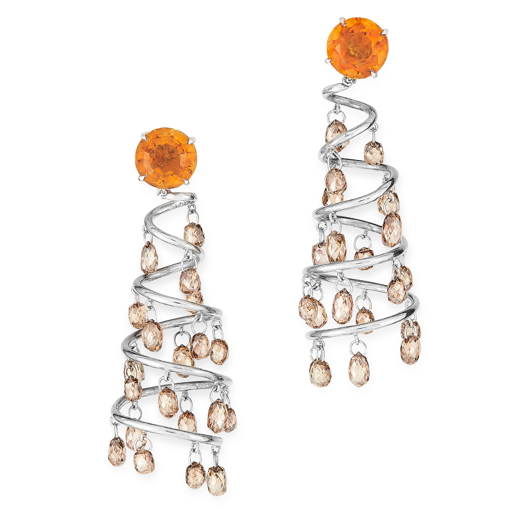 Lot 32 - A PAIR OF DIAMOND AND CITRINE CHANDELIER EARRINGS in 18ct white gold, each designed as a tapering