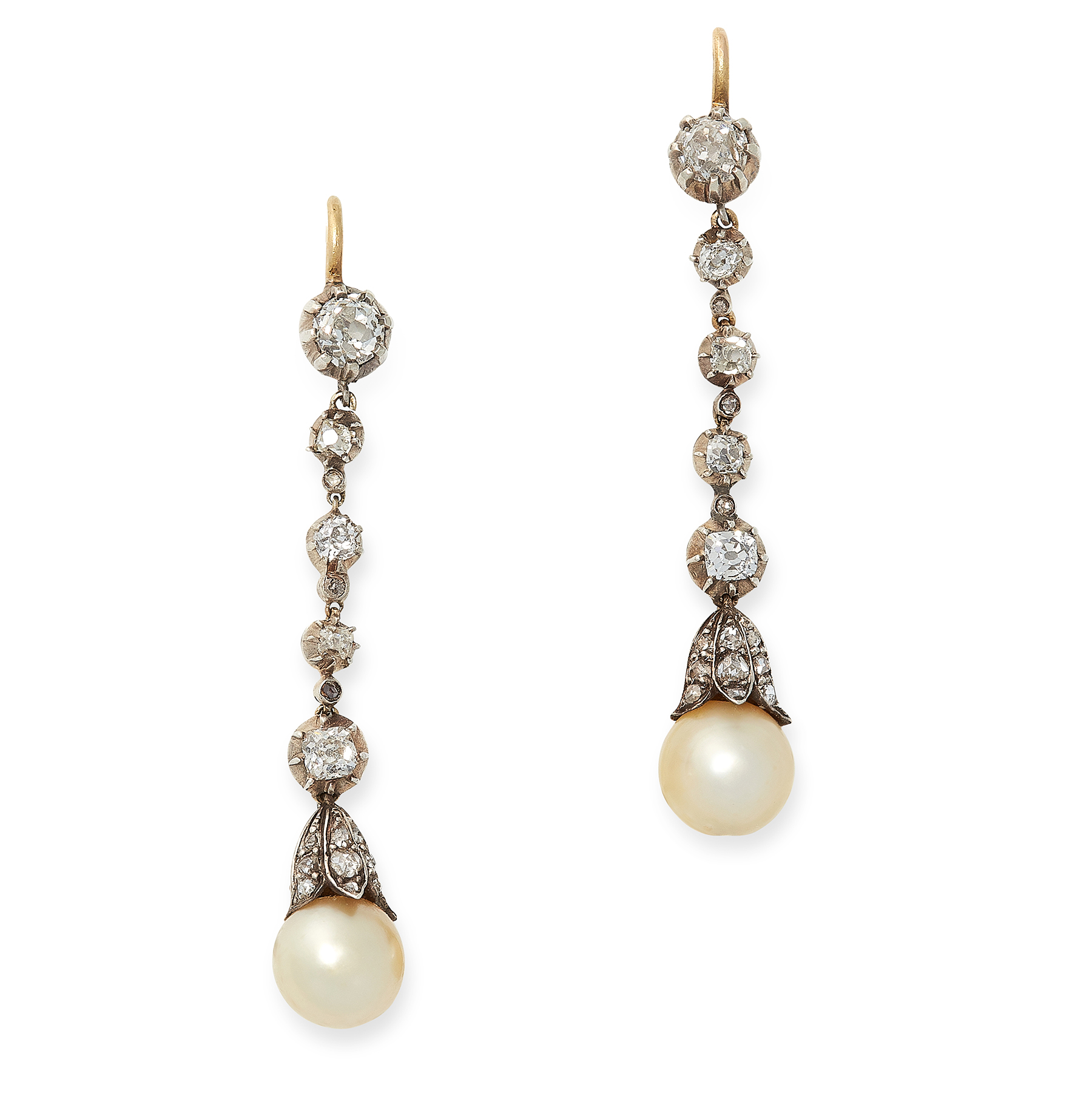 Lot 49 - A PAIR OF NATURAL PEARL AND DIAMOND DROP EARRINGS in yellow gold and silver, each designed as a drop