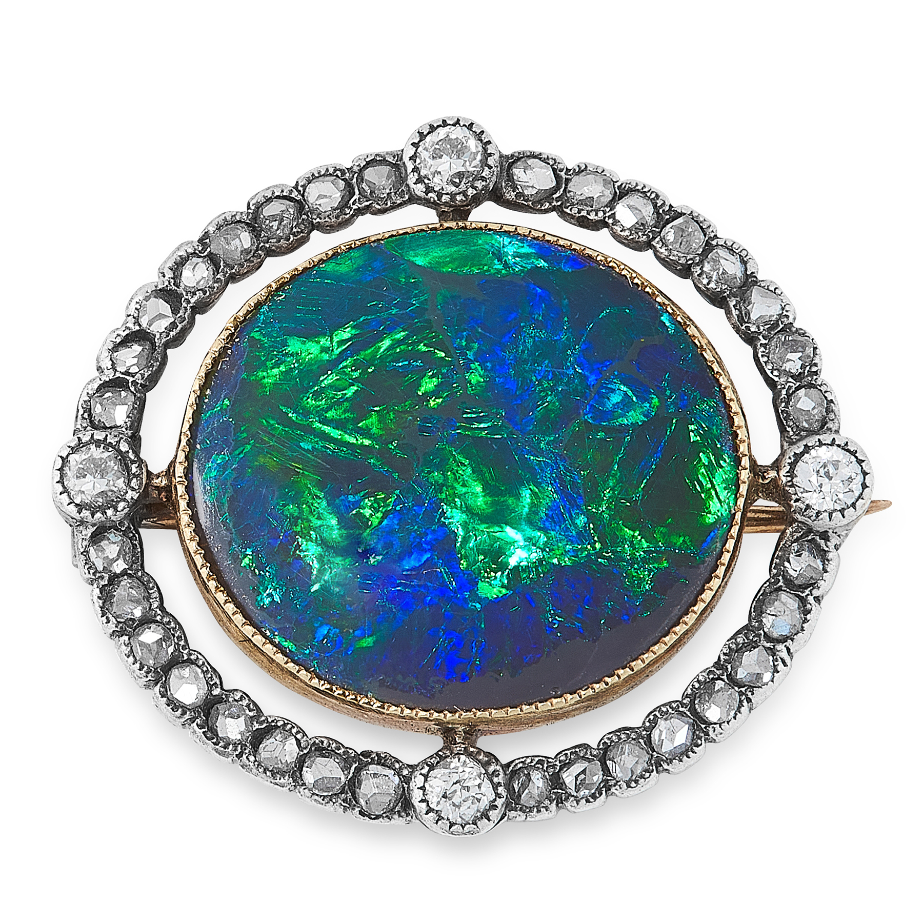 Lot 59 - A BLACK OPAL AND DIAMOND BROOCH, CIRCA 1900 in yellow gold and silver, set with an oval cabochon