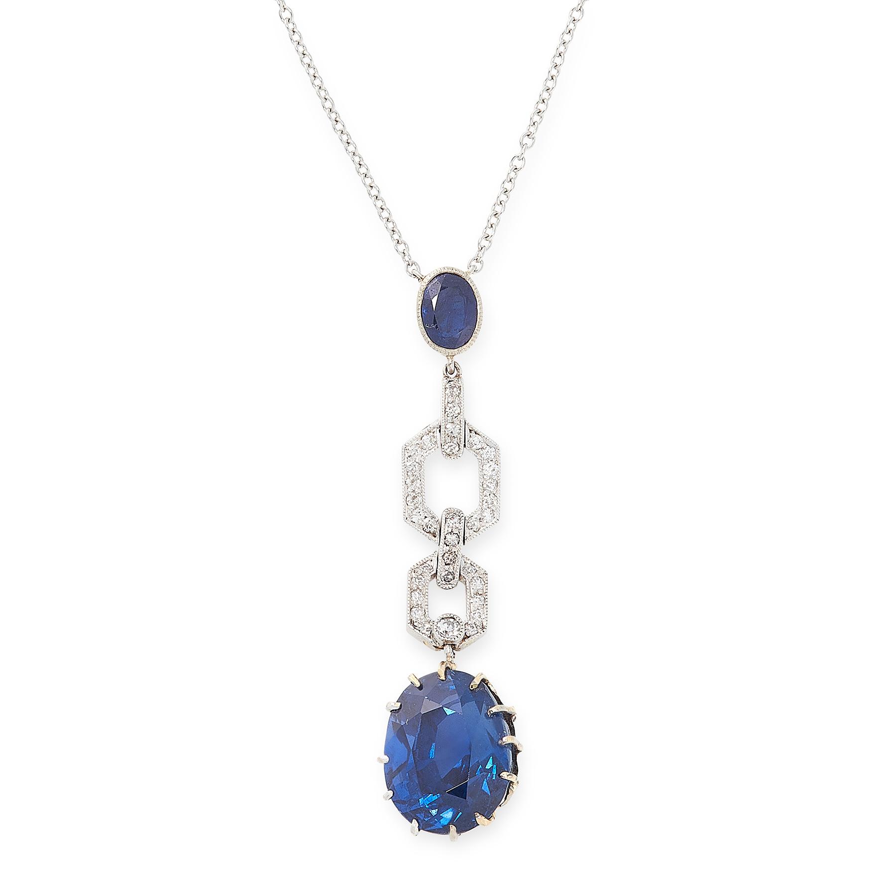 Lot 41 - A CEYLON NO HEAT SAPPHIRE AND DIAMOND PENDANT NECKLACE set with a principal oval cut blue sapphire