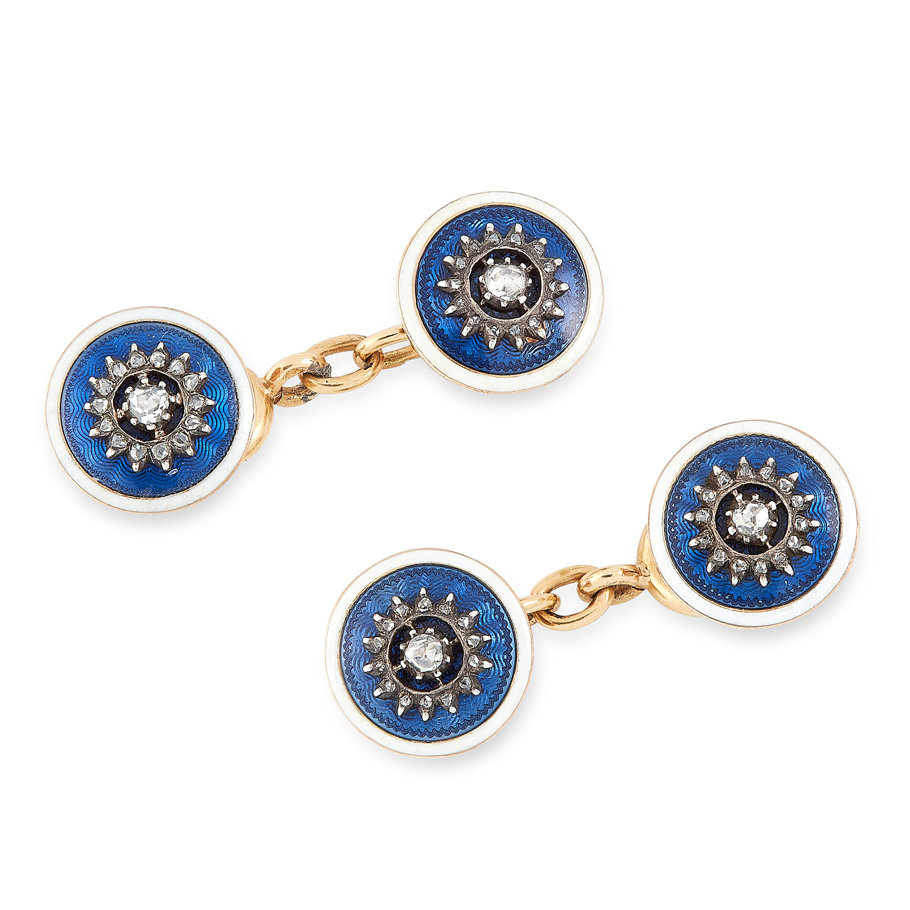 Lot 56 - A PAIR OF ENAMEL AND DIAMOND CUFFLINKS, CARTIER in 18ct yellow gold, each formed of two circular