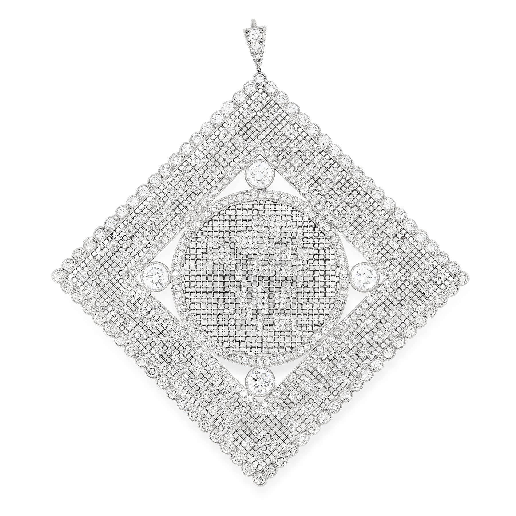 Lot 28 - A DIAMOND PENDANT the large square body of lattice design inset with four principal round cut
