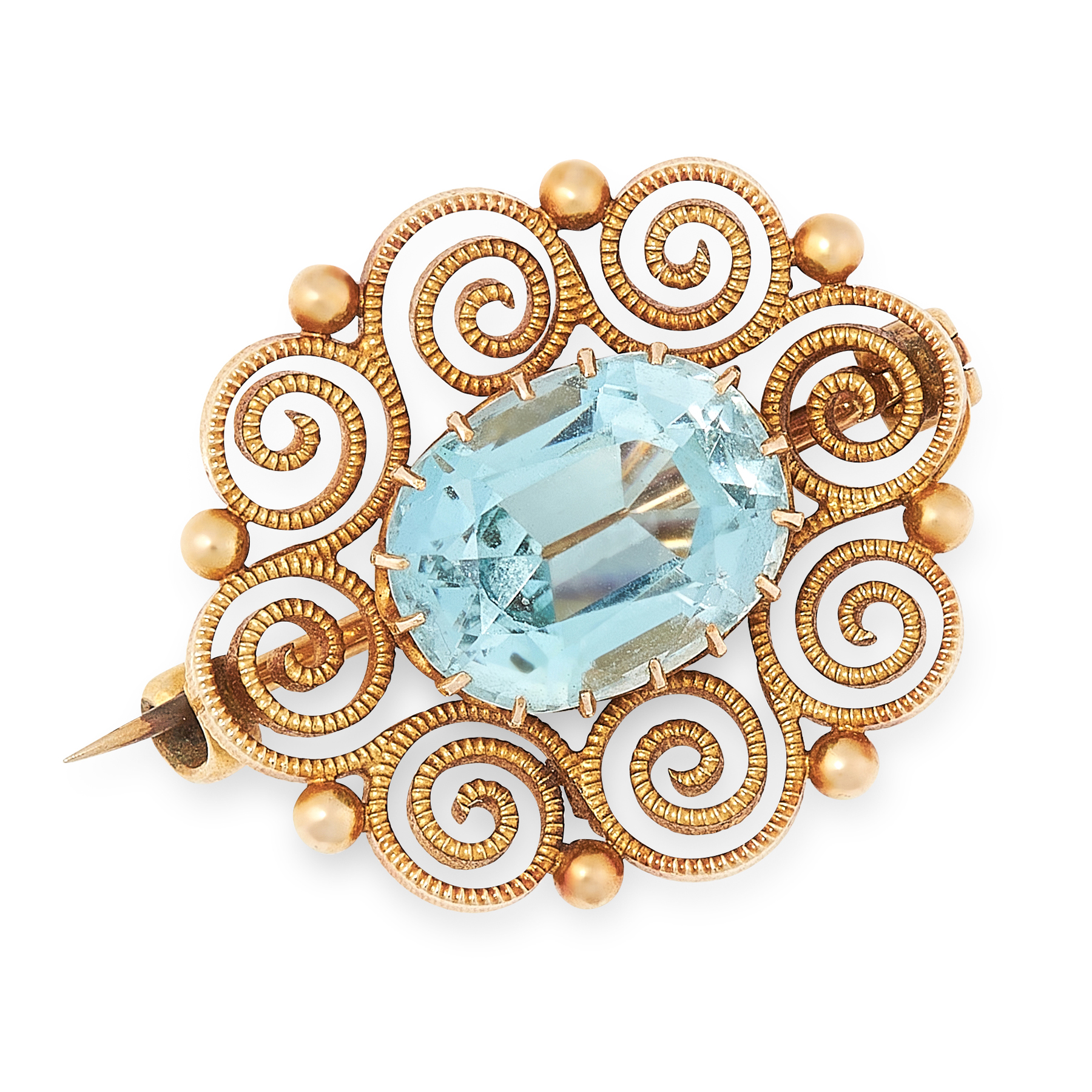 Lot 48 - A ZIRCON BROOCH in high carat yellow gold, set with an oval cut zircon of 6.85 carats, within a