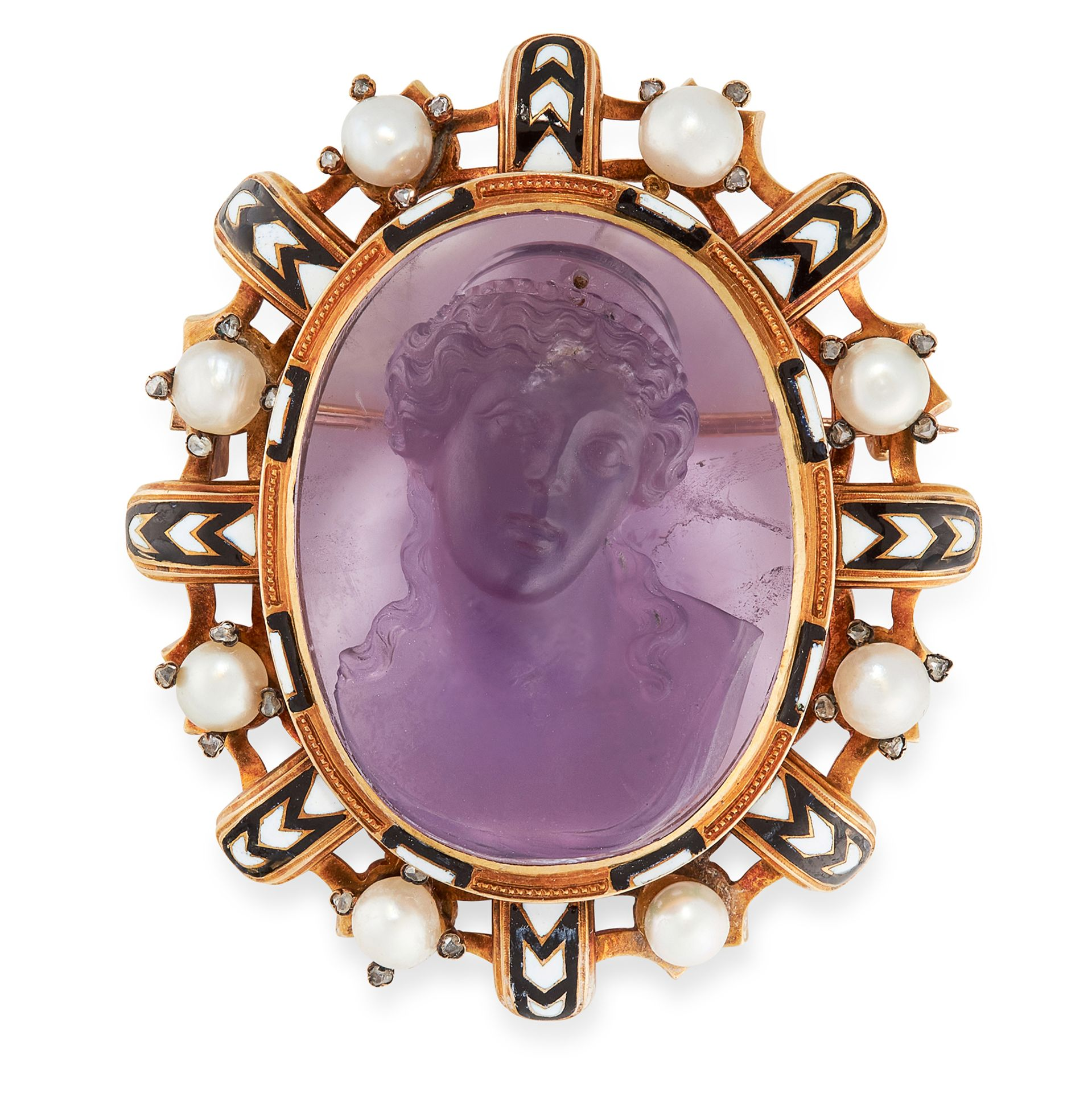 AN ANTIQUE AMETHYST CAMEO, DIAMOND, ENAMEL AND PEARL BROOCH, 19TH CENTURY in 18ct yellow gold, set
