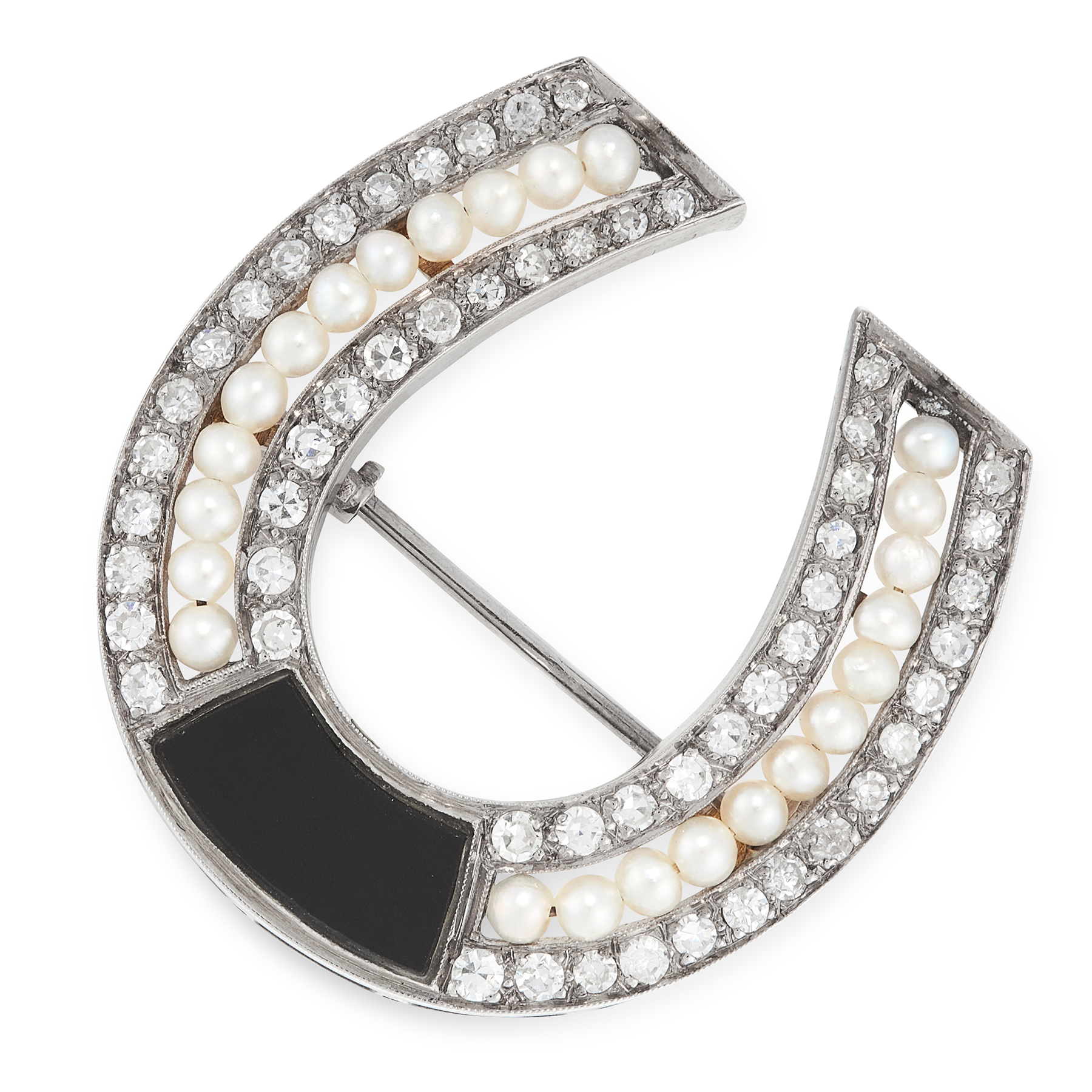 AN ANTIQUE ONYX, DIAMOND AND PEARL HORSESHOE BROOCH in white gold or platinum, designed as a