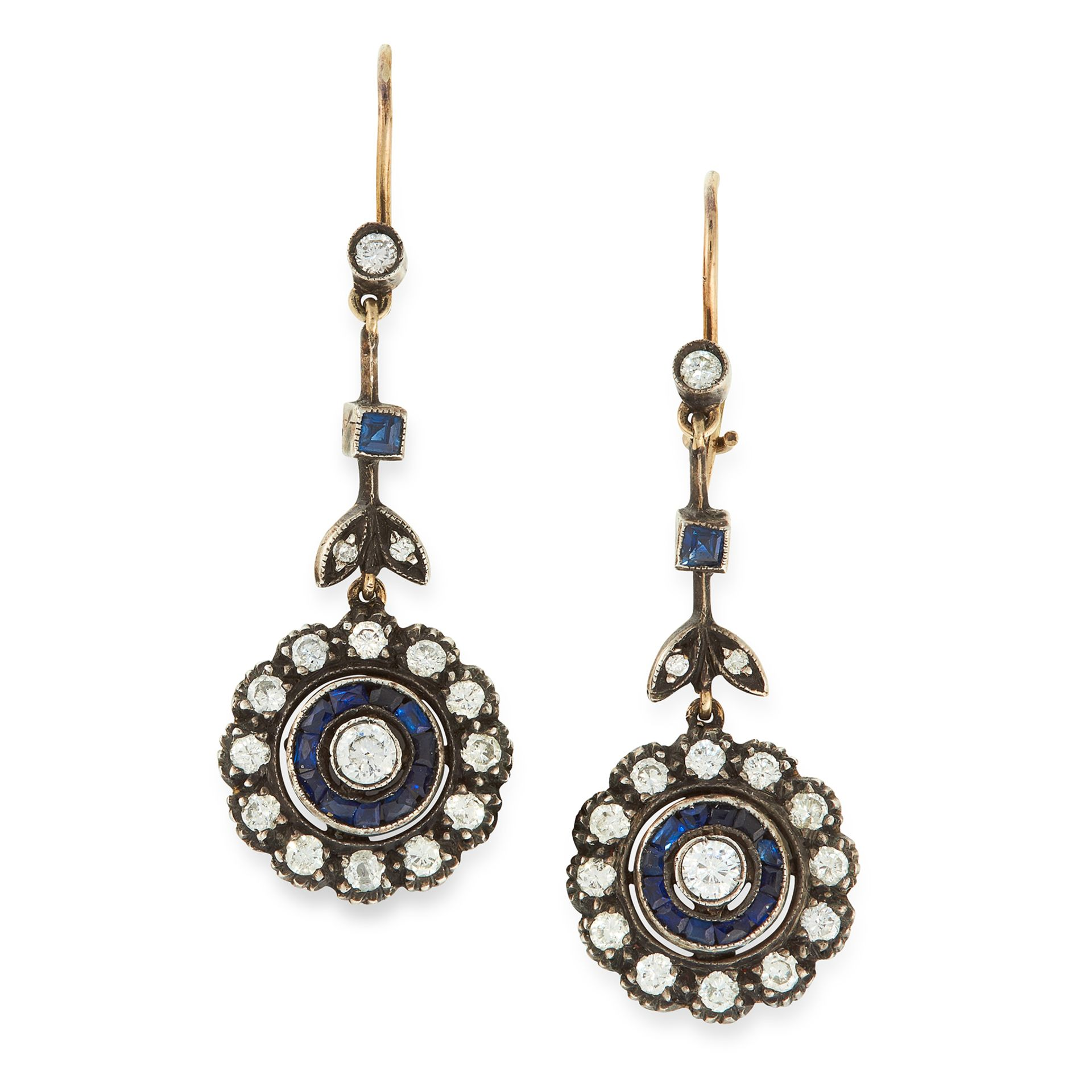 A PAIR OF DIAMOND AND SAPPHIRE DROP EARRINGS in yellow gold and silver, each set with a round cut