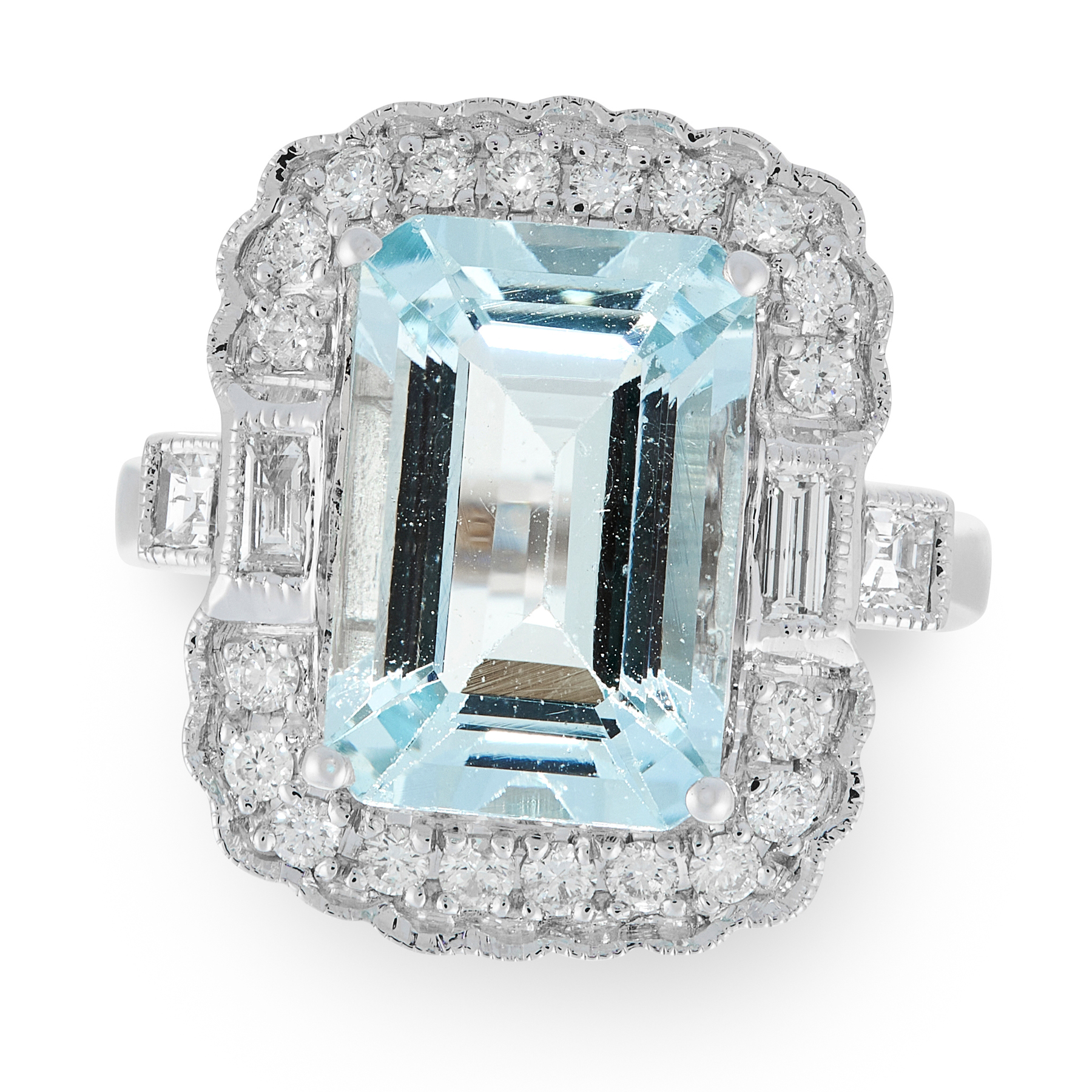 AN AQUAMARINE AND DIAMOND RING in 18ct white gold, set with an emerald cut aquamarine of 4.67 in a