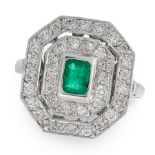 AN EMERALD AND DIAMOND DRESS RING in platinum, set with an emerald cut emerald within a two row