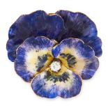 AN ANTIQUE ENAMEL AND DIAMOND PANSY BROOCH designed as a pansy, decorated with shaded purple and