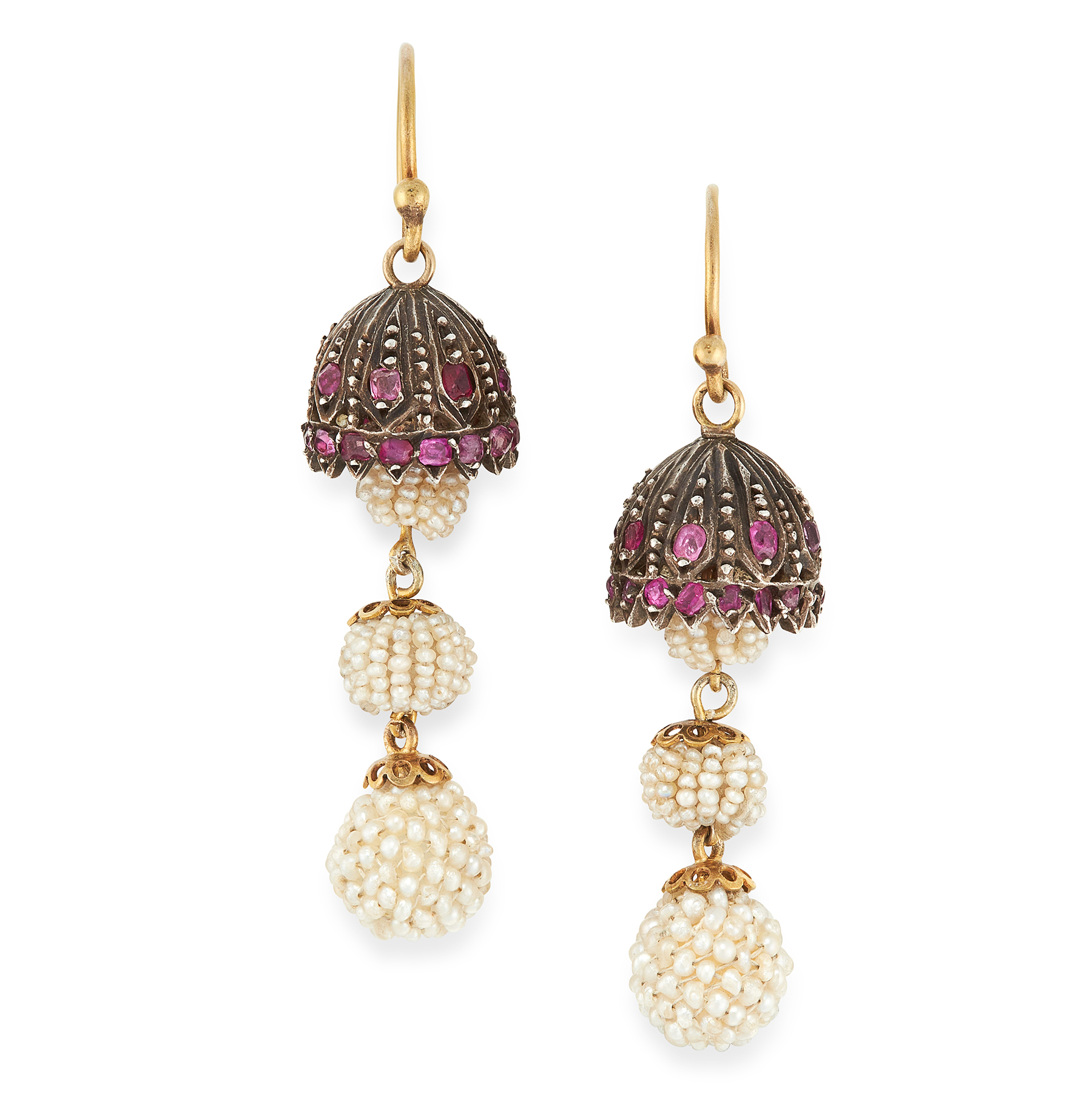 A PAIR OF RUBY AND SEED PEARL EARRINGS in yellow gold and silver, the lamp shade design set with