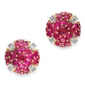 A PAIR OF RUBY AND DIAMOND EARRINGS in yellow gold, of circular design, set all over with round
