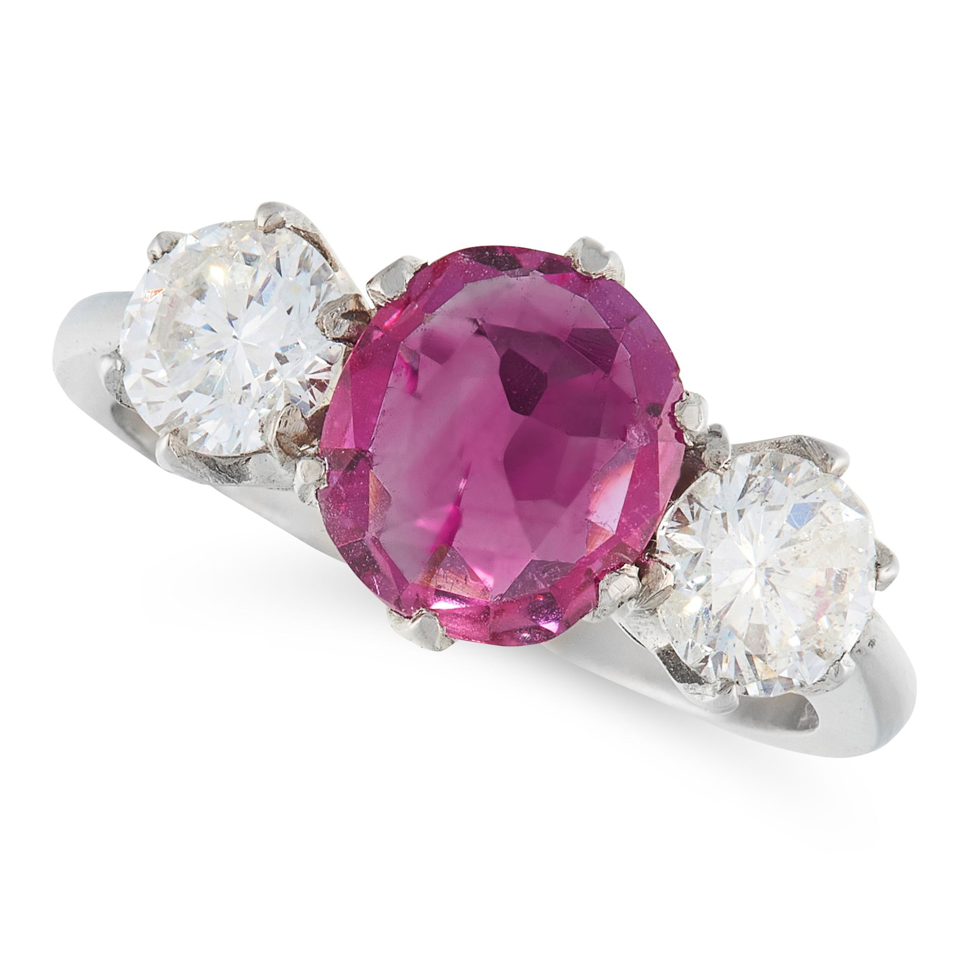 AN UNHEATED RUBY AND DIAMOND RING in platinum, set with a central cushion cut ruby of 1.37 carats