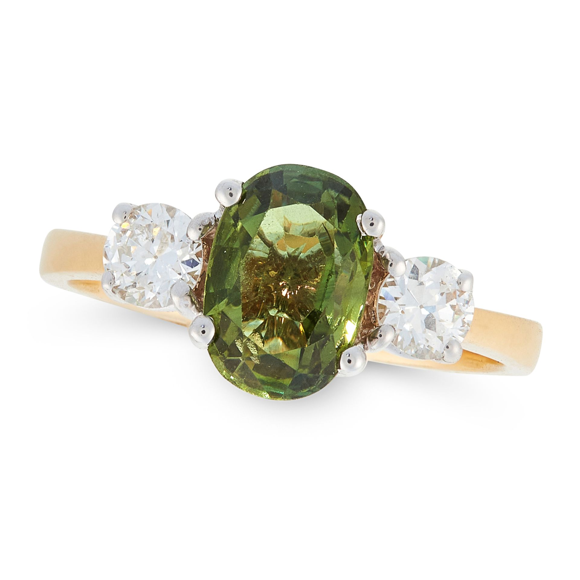 A GREEN SAPPHIRE AND DIAMOND THREE STONE RING in 18ct yellow gold, set with an oval cut green