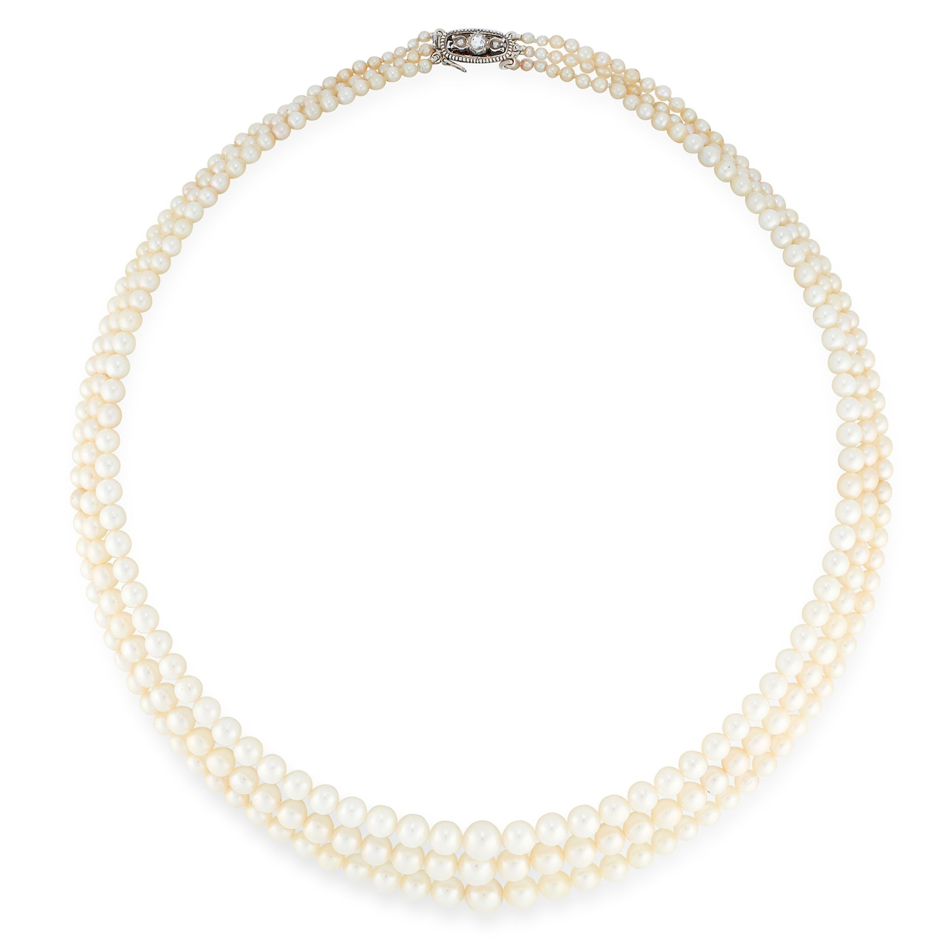 A PEARL AND DIAMOND NECKLACE in yellow gold and silver, comprising three rows of graduated pearls