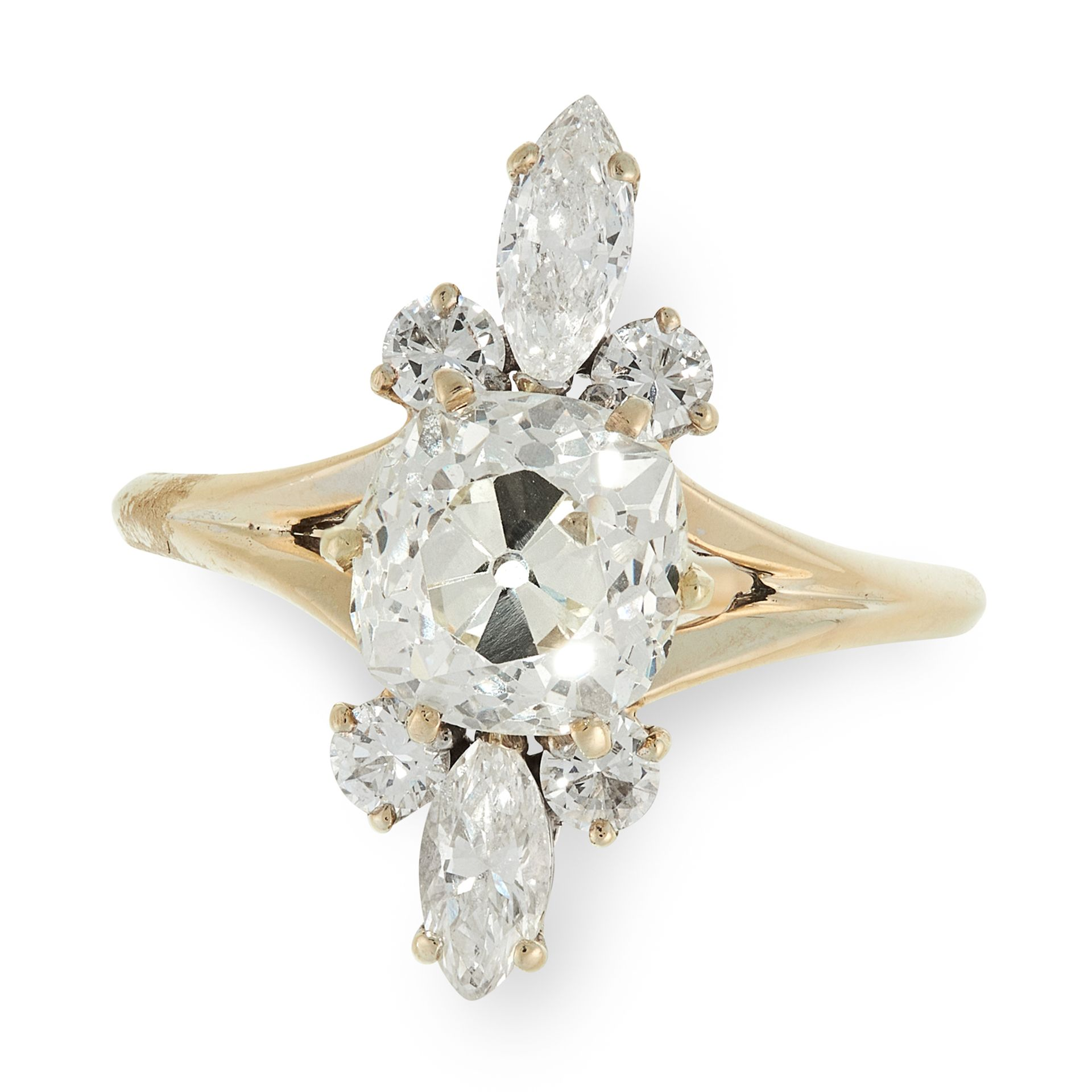 A DIAMOND DRESS RING, MAUBOUSSIN in 18ct yellow gold, set with a principal old cut diamond of 2.44
