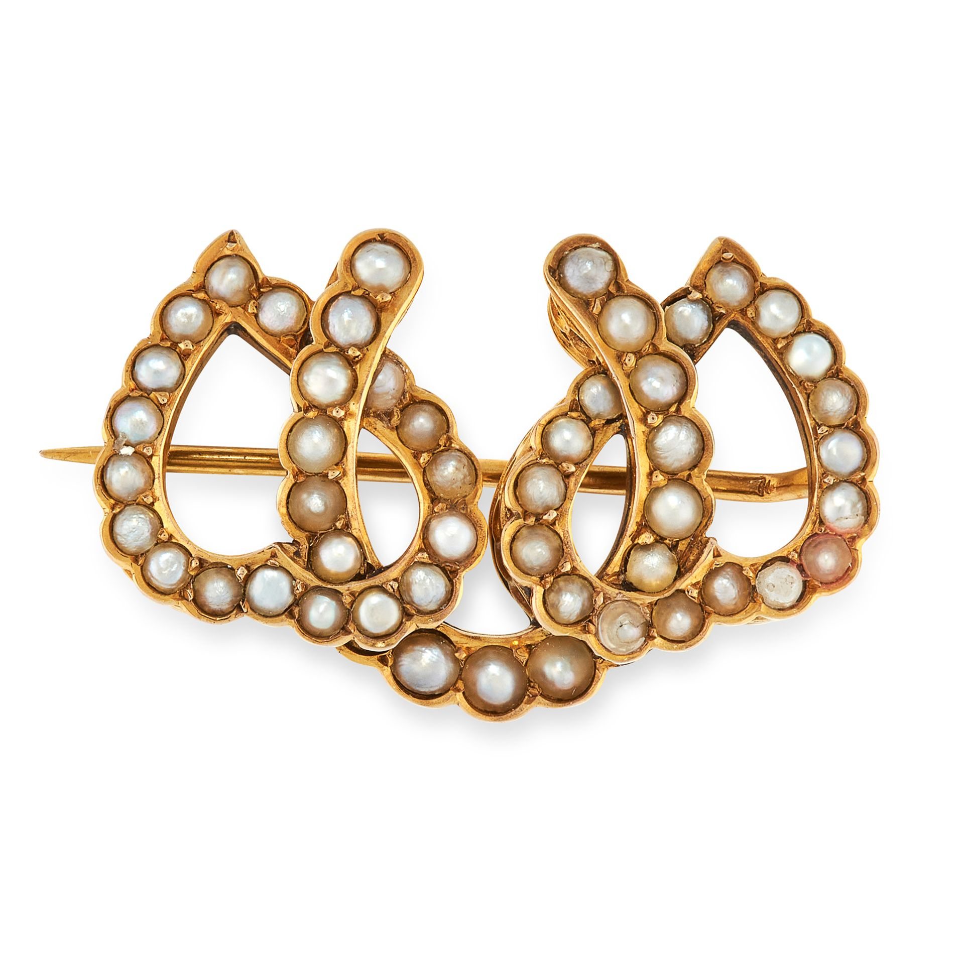 AN ANTIQUE PEARL BROOCH, 19TH CENTURY in high carat yellow gold, designed as a horseshoe interlocked