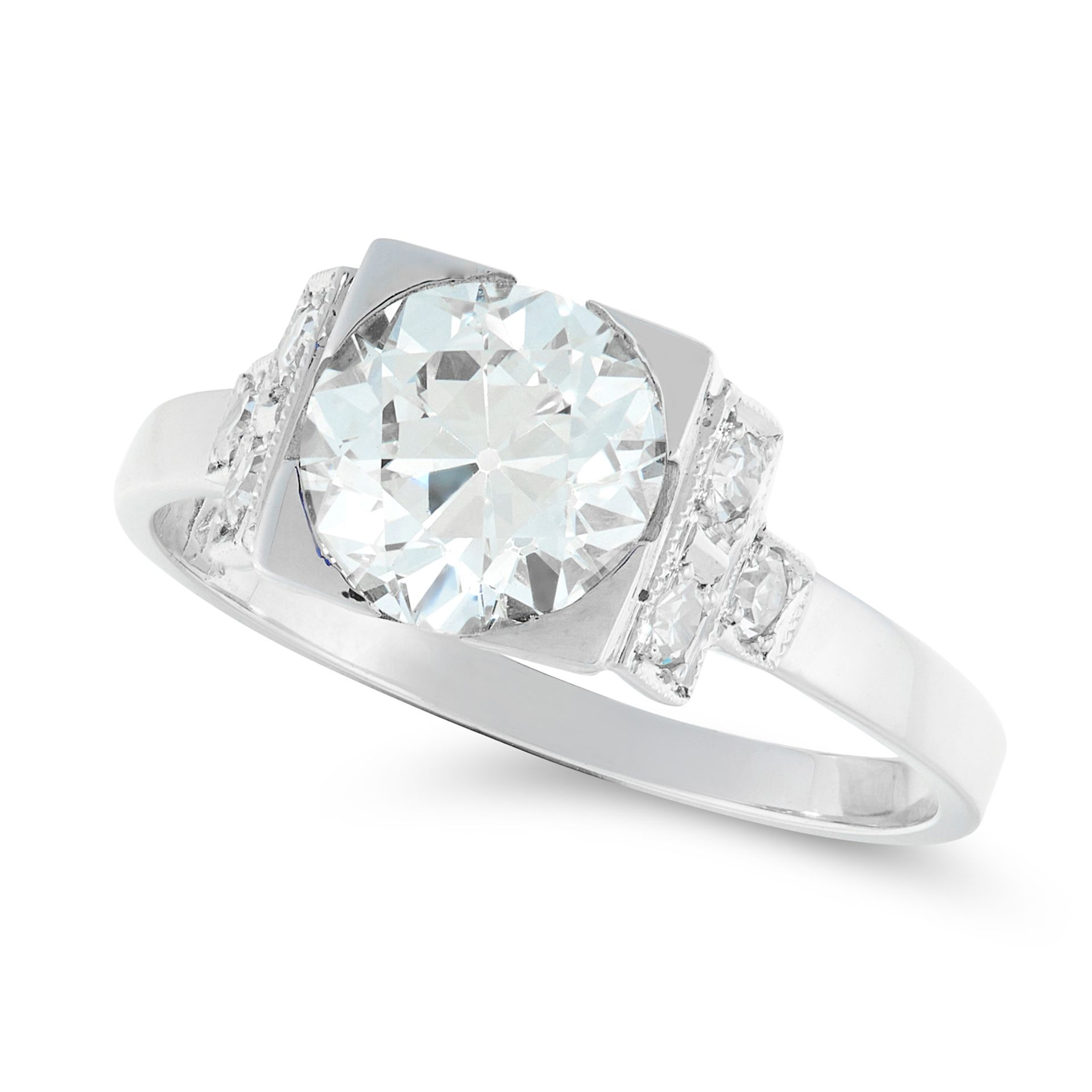A SOLITIARE DIAMOND RING in white gold, set with a principal old cut diamond of 1.68 carats, between - Bild 2 aus 2