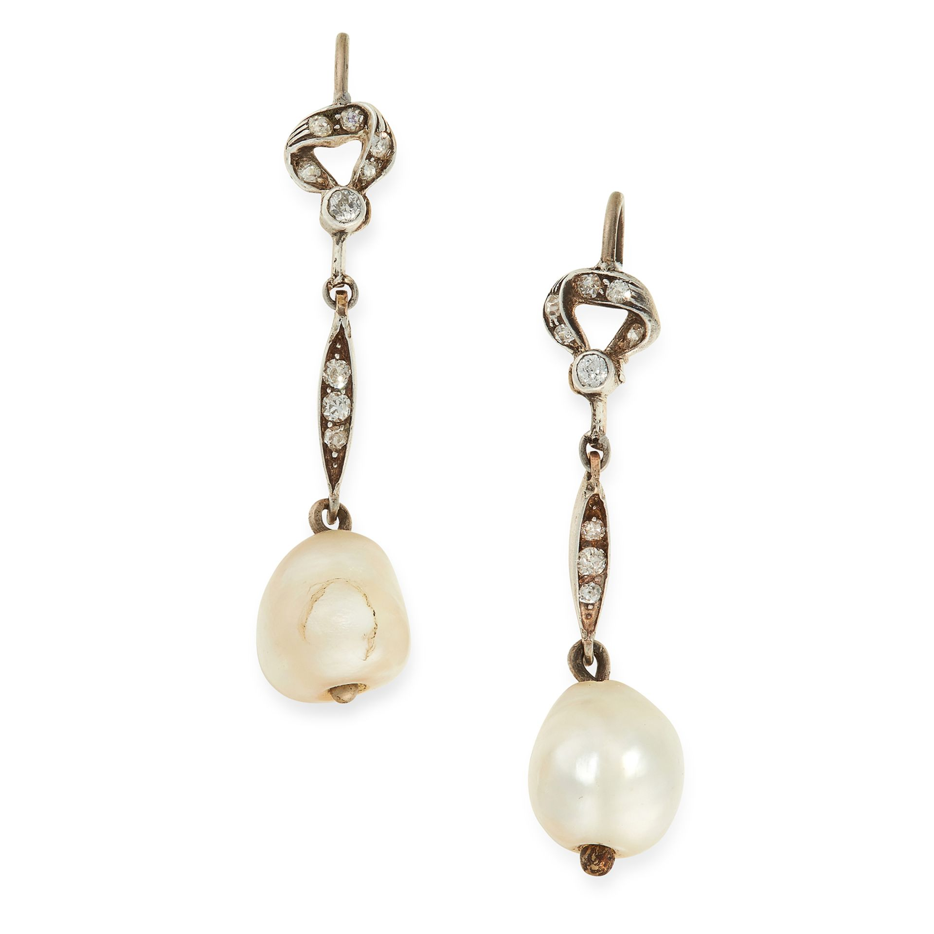 A PAIR OF NATURAL PEARL AND DIAMOND EARRINGS each set with a pearl of 10.4mm and 9.9mm, suspended