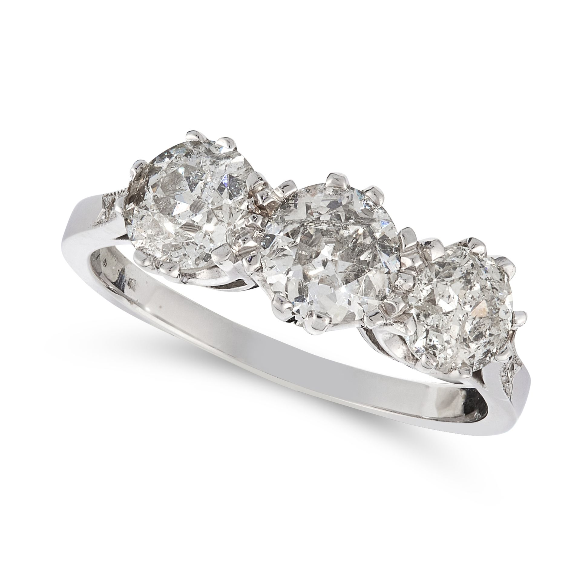 A DIAMOND THREE STONE RING set with three round diamonds totalling 2.03 carats, unmarked, size N /