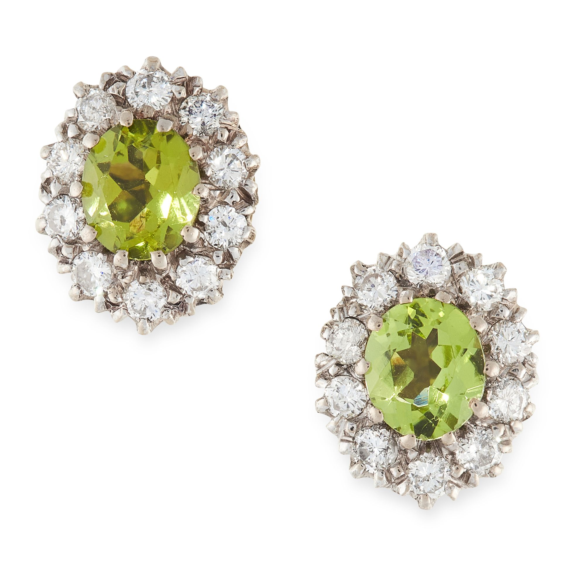 A PAIR OF PERIDOT AND DIAMOND CLUSTER EARRINGS in yellow gold, each set with an oval cut peridot