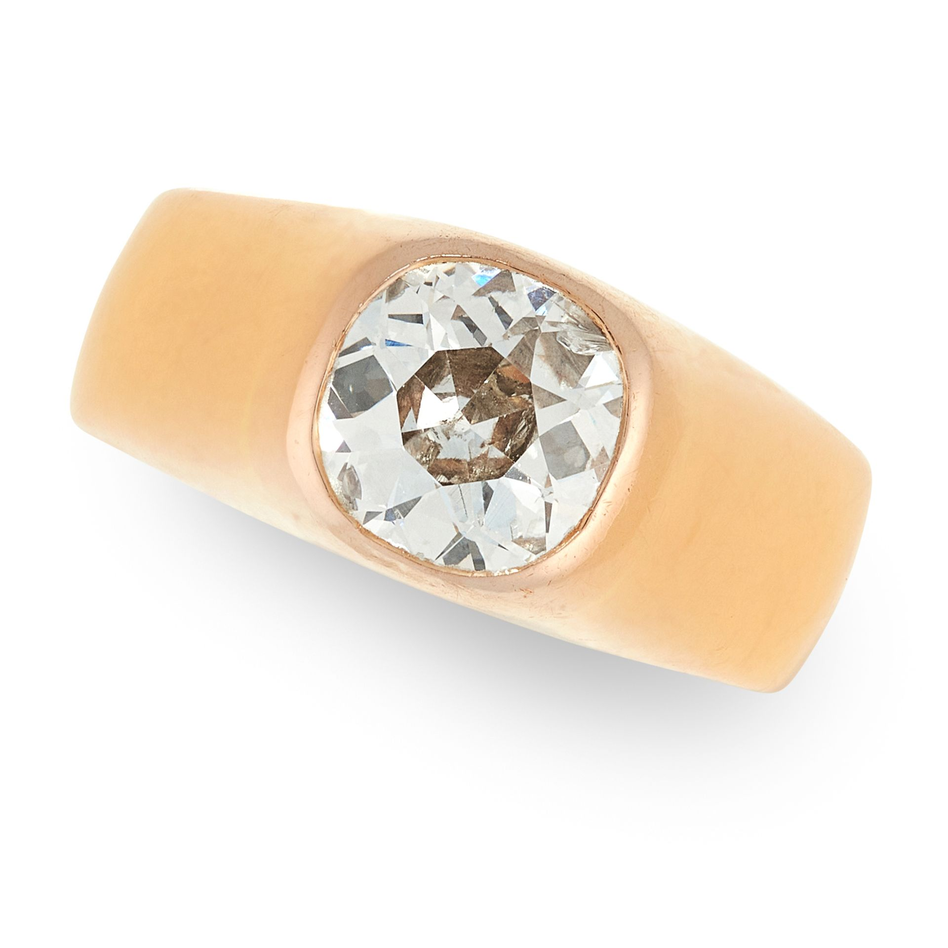 A DIAMOND GYPSY RING in 18ct yellow gold, the plain band set with an old cut diamond of 1.45 carats,