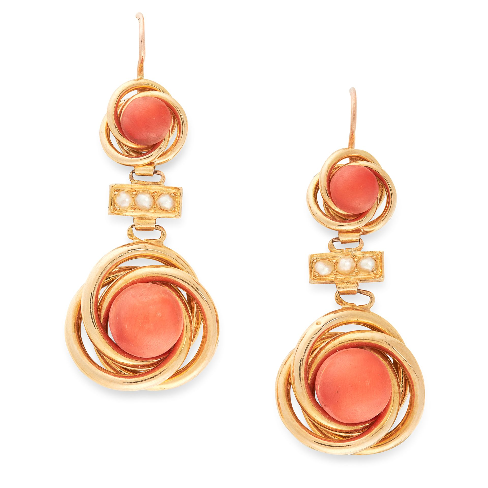A PAIR OF CORAL AND PEARL EARRINGS in 18ct yellow gold, each comprising two graduated coral beads