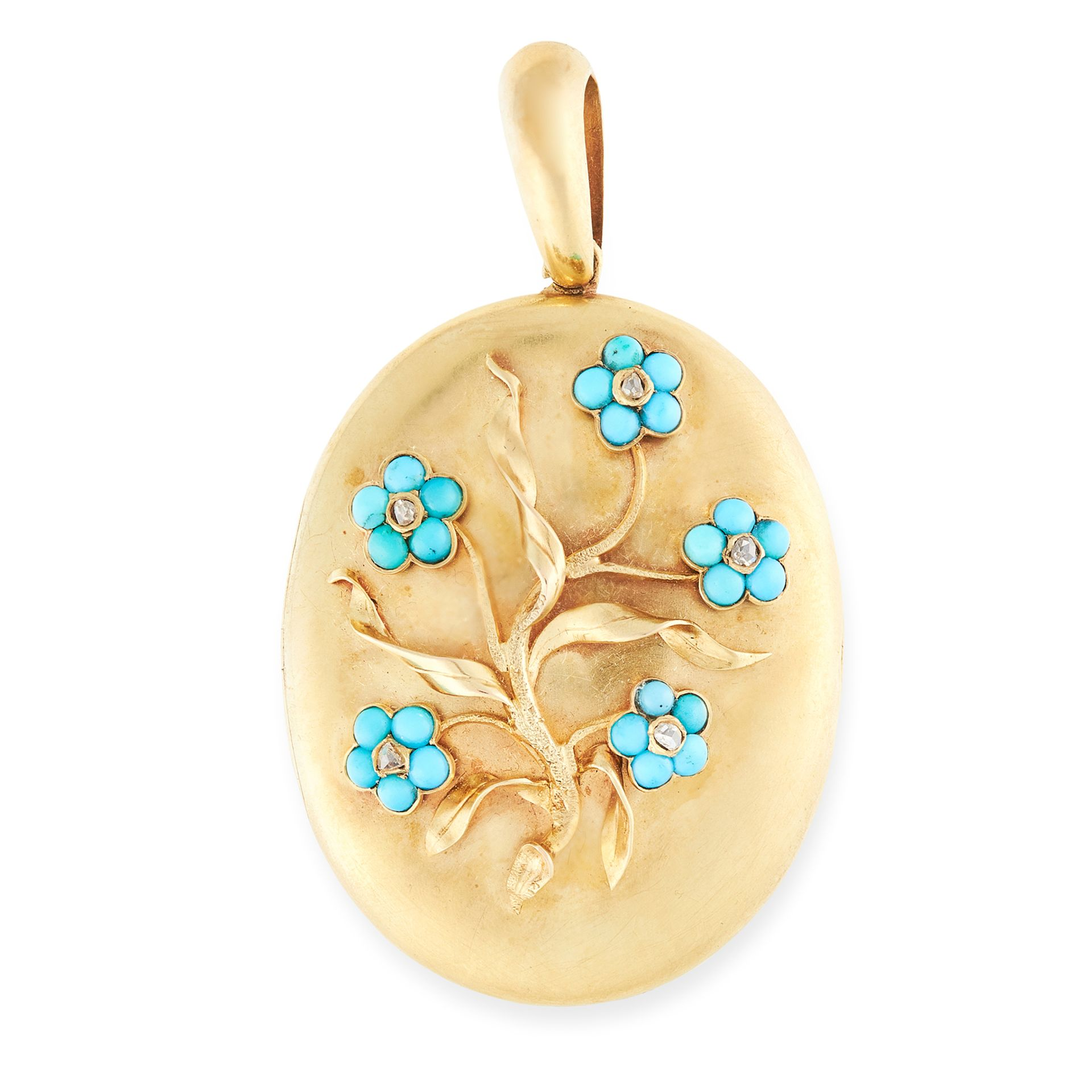 AN ANTIQUE TURQUOISE AND DIAMOND FORGET ME NOT MOURNING LOCKET PENDANT in yellow gold, the oval body