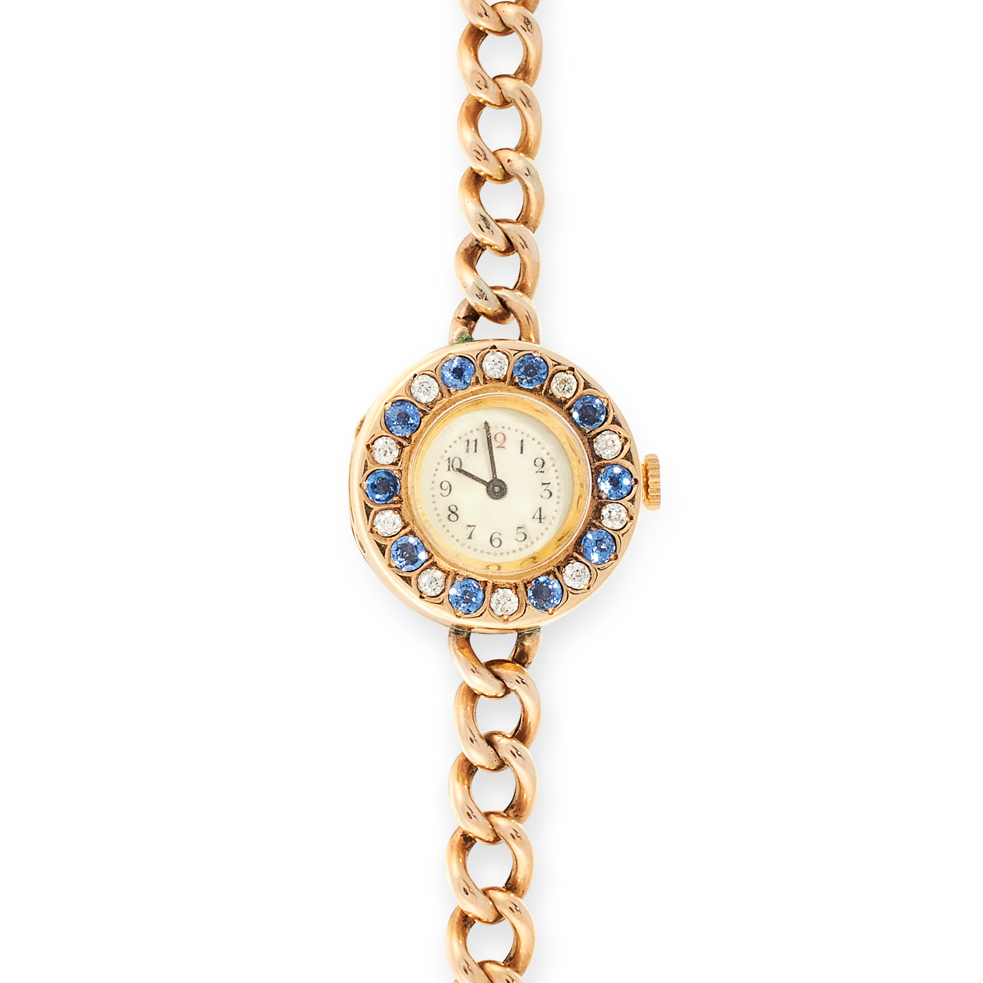 A SAPPHIRE AND DIAMOND COCKTAIL WATCH in 18ct and 15ct yellow gold, the circular watch face jewelled