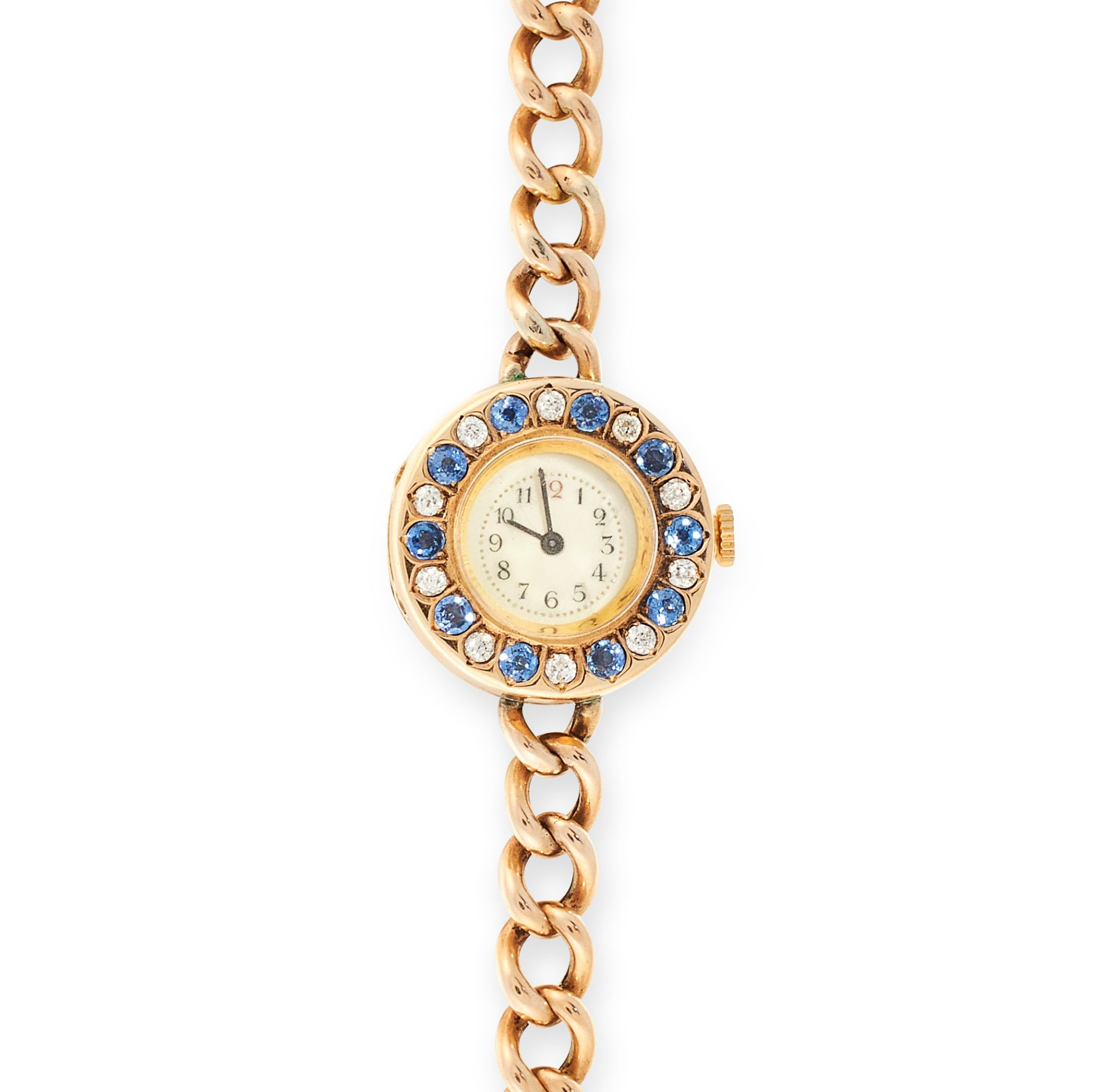 Los 161 - A SAPPHIRE AND DIAMOND COCKTAIL WATCH in 18ct and 15ct yellow gold, the circular watch face jewelled