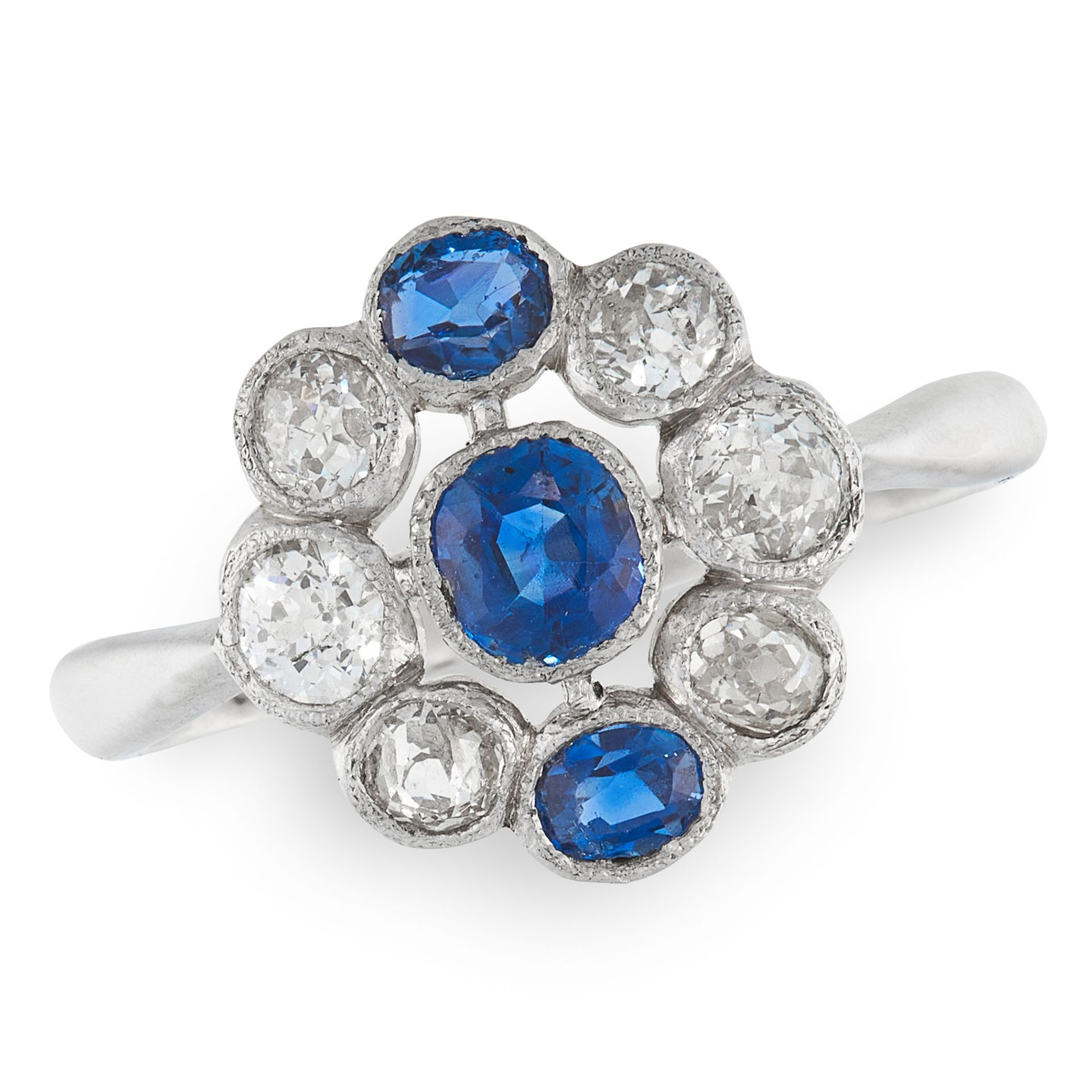 A SAPPHIRE AND DIAMOND DRESS RING in 18ct white gold, set with a trio of graduated cushion cut