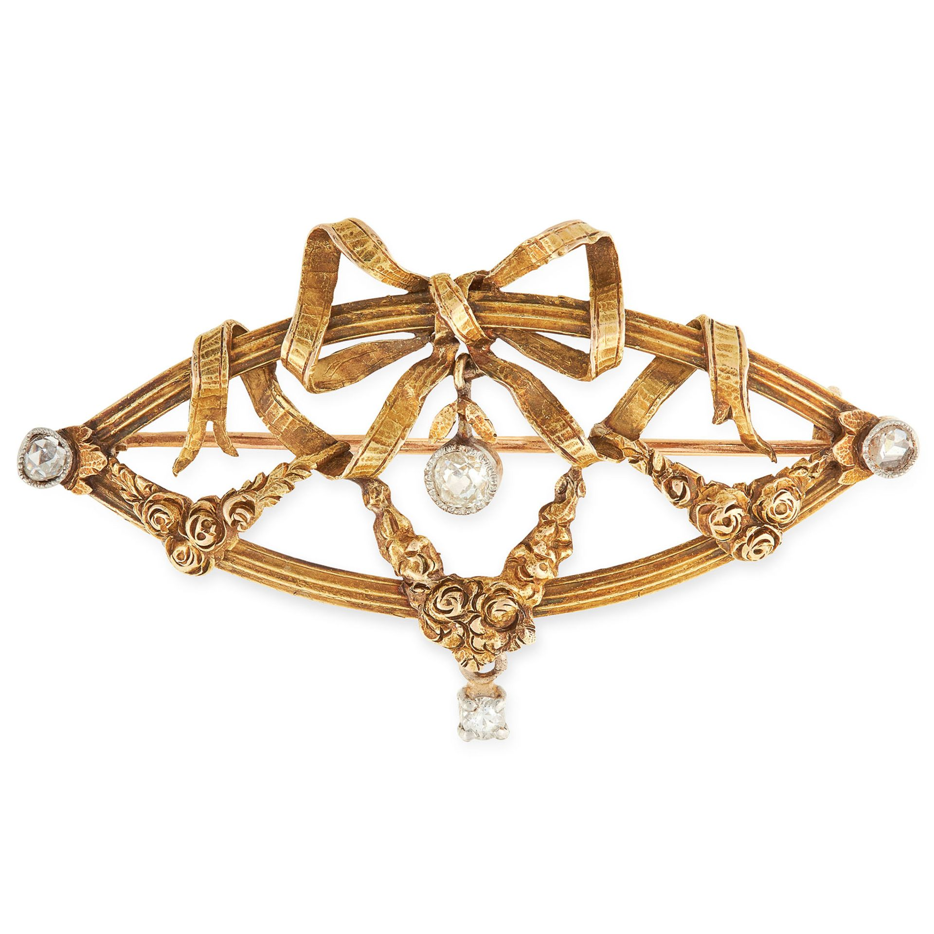 AN ANTIQUE DIAMOND BROOCH in yellow gold, the nanette shaped body formed of a reeded border set with