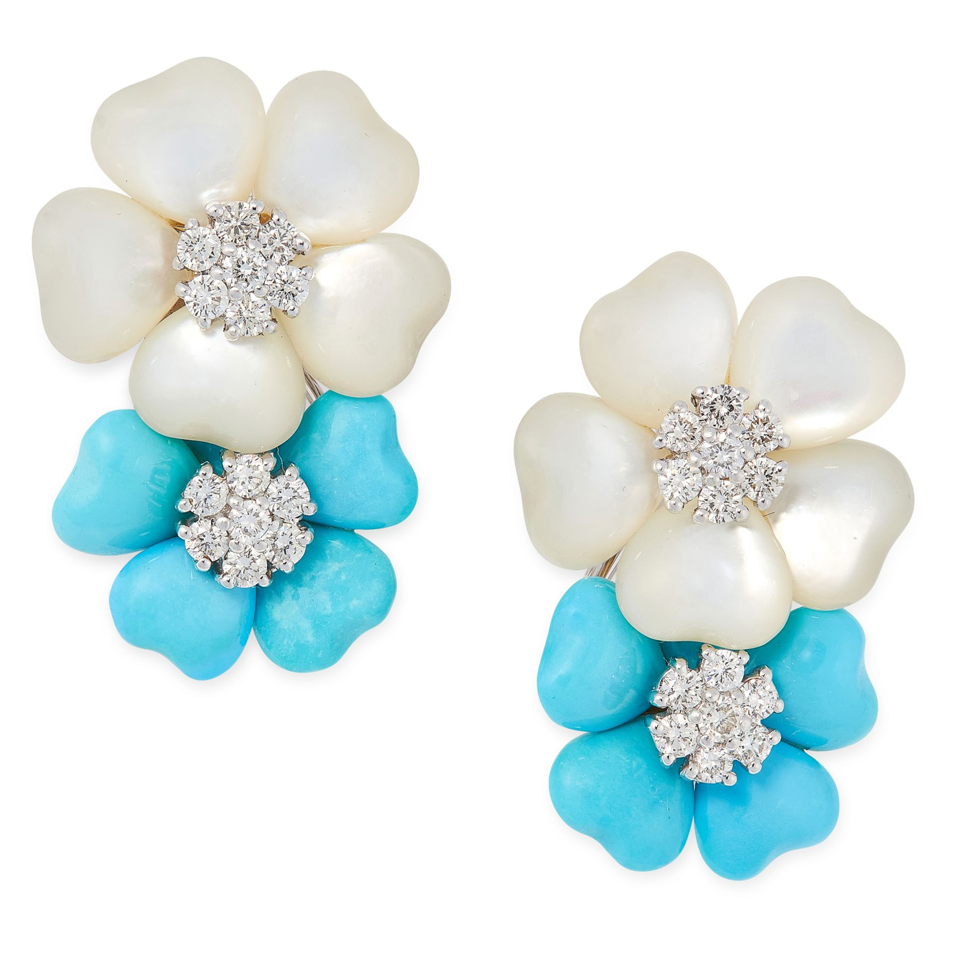 A PAIR OF TURQUOISE, MOTHER OF PEARL AND DIAMOND EARRINGS in 18ct white gold, each designed as two