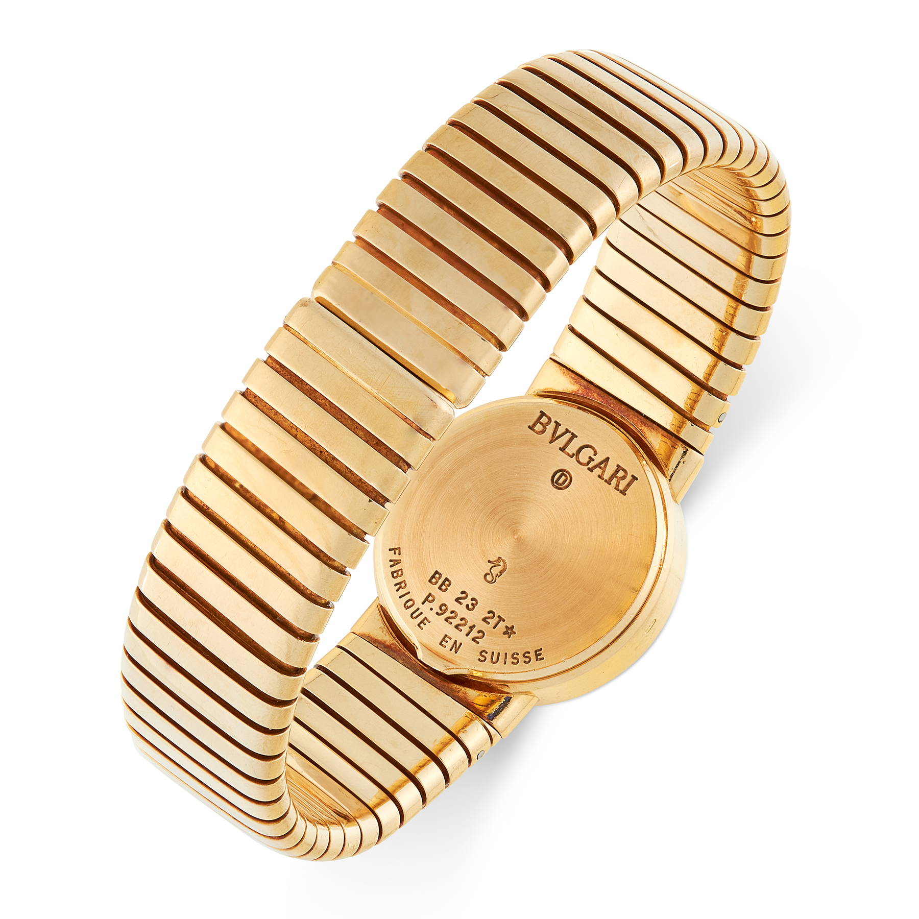 A GOLD TUBOGAS WRIST WATCH, BULGARI in 18ct yellow gold, set with a black face, signed Bulgari, - Image 2 of 2