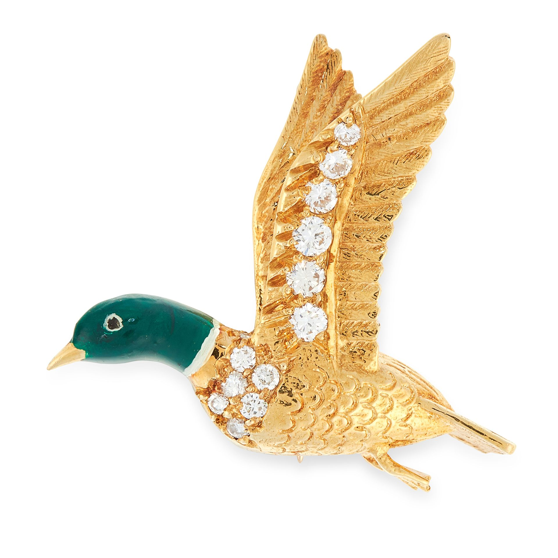 A VINTAGE DIAMOND AND ENAMEL DUCK BROOCH, E WOLFE & CO 1971 in 18ct yellow gold, designed as a