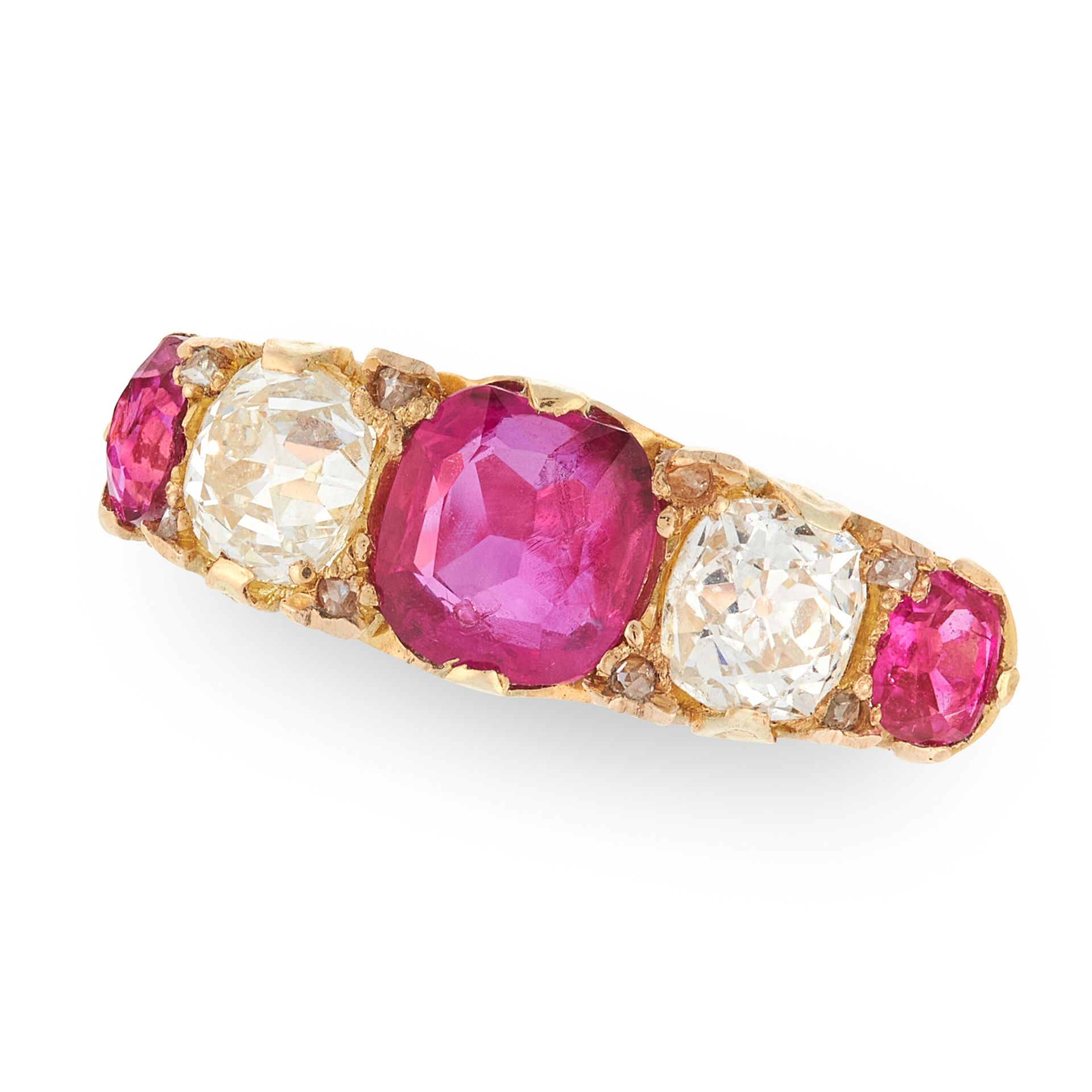 AN ANTIQUE VICTORIAN BURMA NO HEAT RUBY AND DIAMOND FIVE STONE RING, 1886 in 18ct yellow gold, set