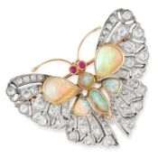 AN ANTIQUE DIAMOND, OPAL AND RUBY BUTTERFLY BROOCH in yellow gold and silver, designed as a