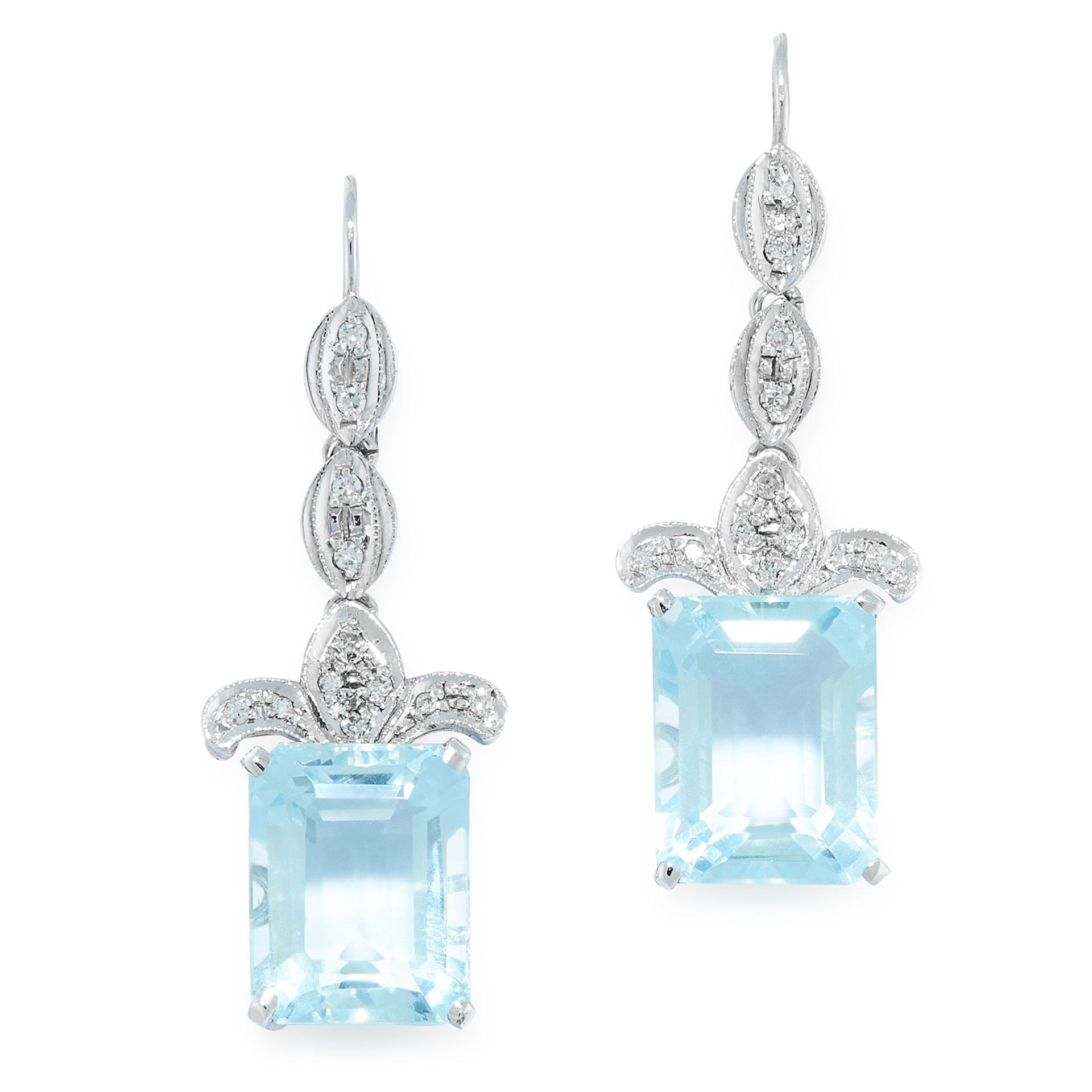 A PAIR OF BLUE TOPAZ AND DIAMOND EARRINGS in white gold, each set with an emerald cut blue topaz