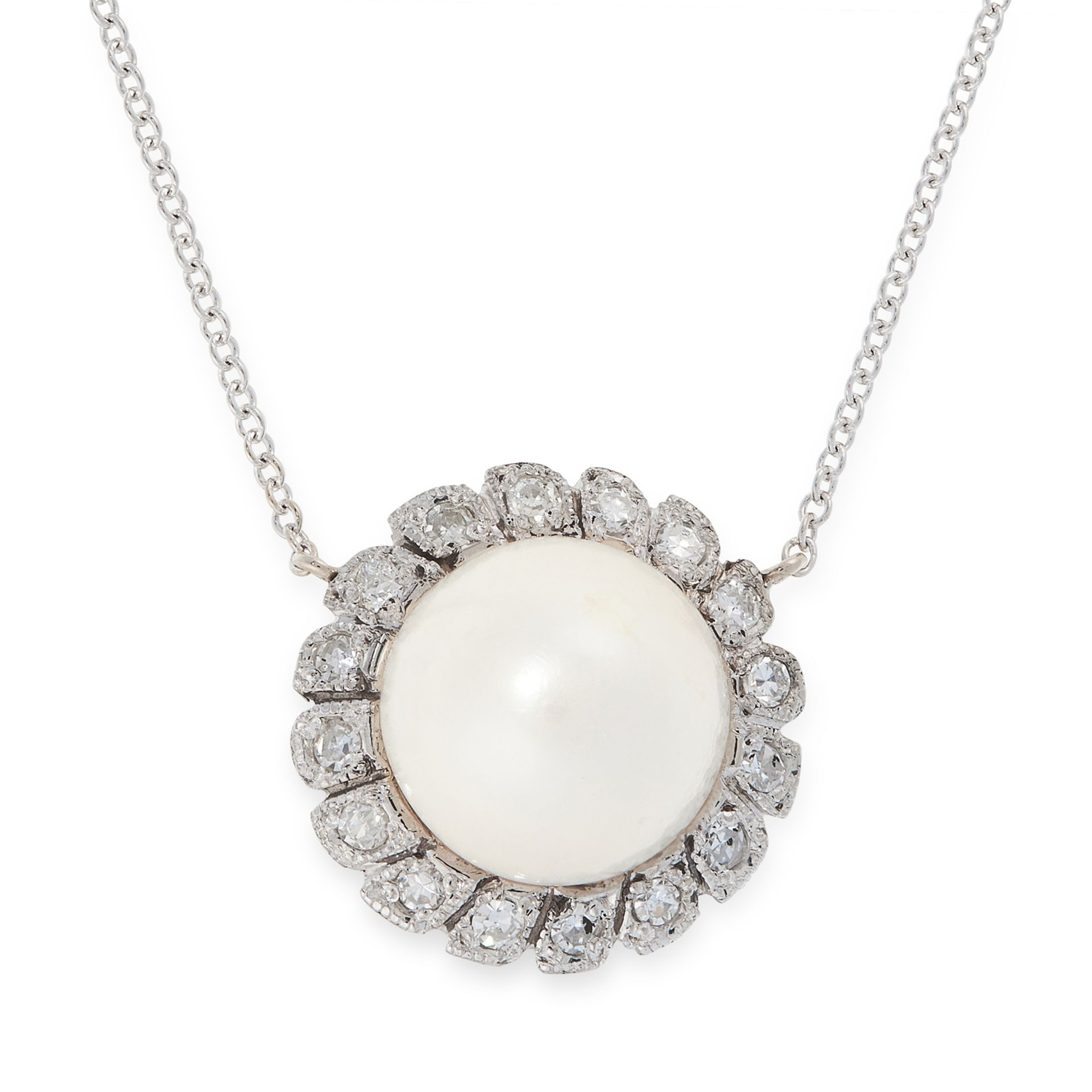 A PEARL AND DIAMOND PENDANT NECKLACE in 18ct white gold, set with a pearl of 9.9mm within a border